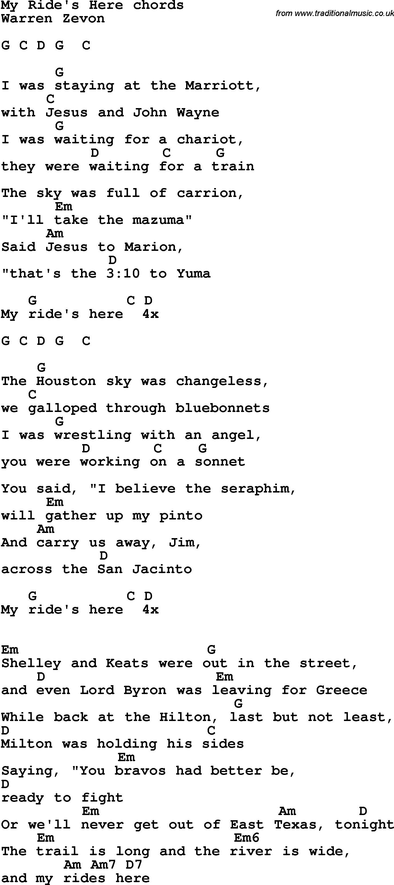 Song Lyrics With Guitar Chords For My Rides Here