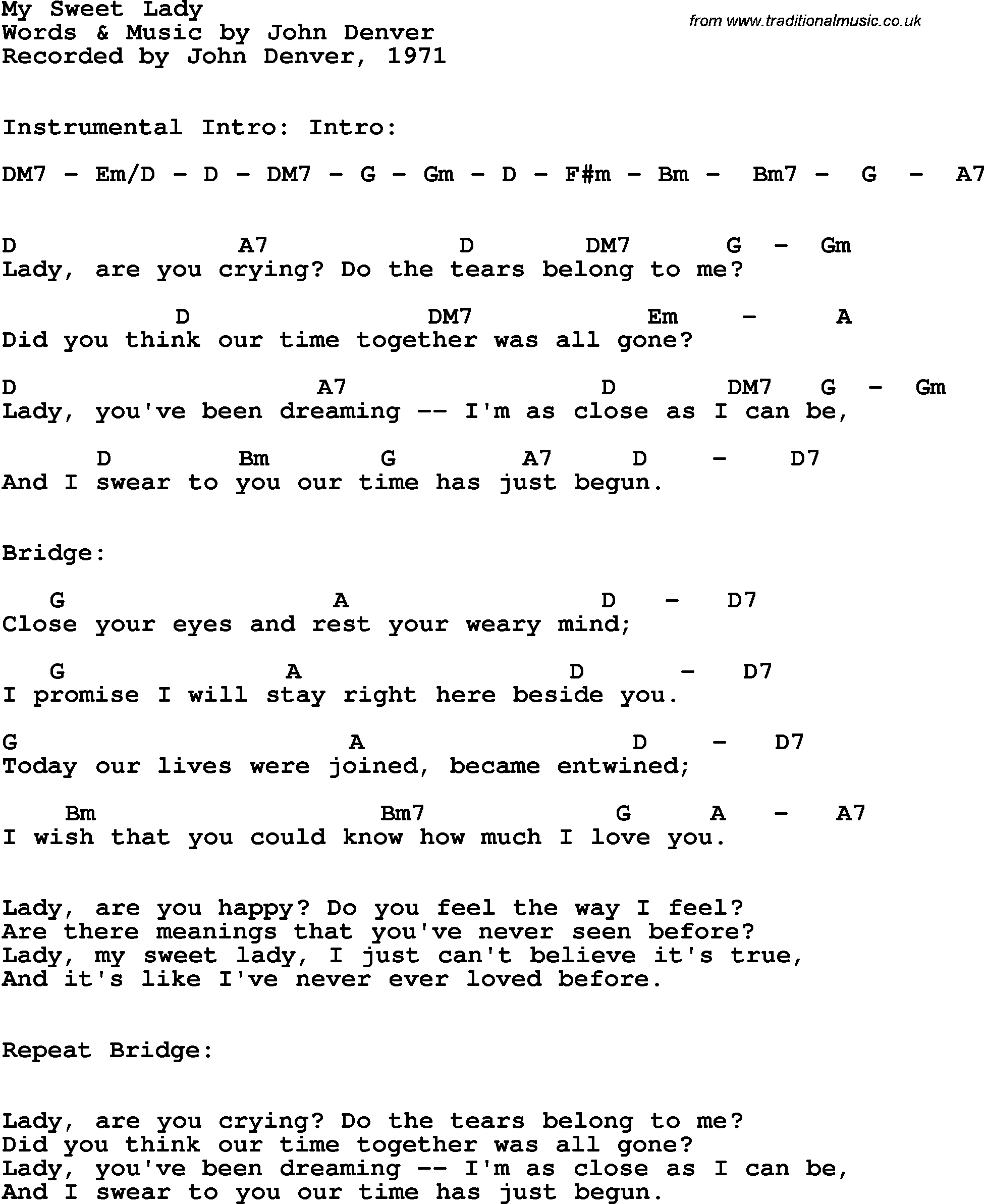 Song lyrics with guitar chords for My Sweet Lady - John