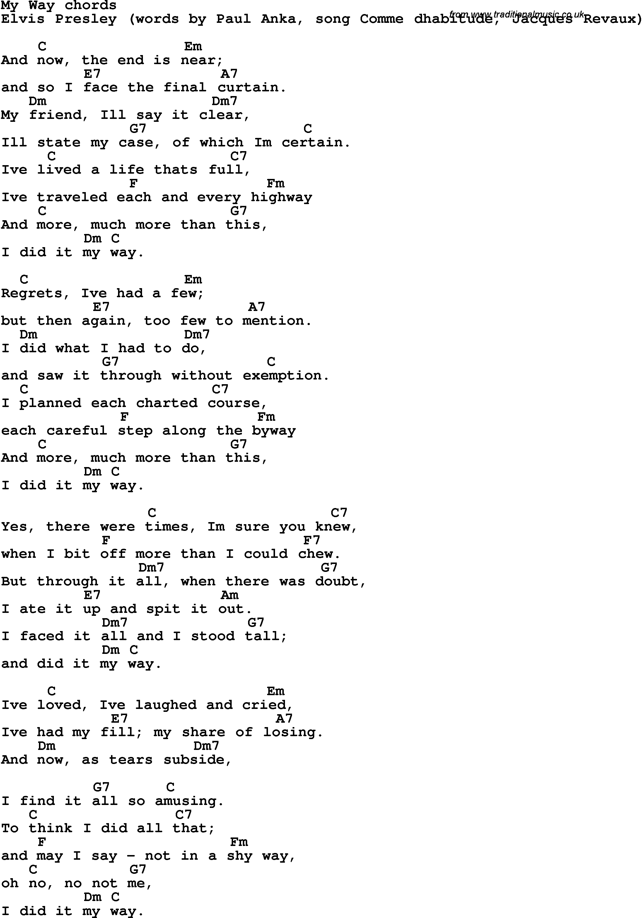 Song Lyrics With Guitar Chords For My Way Elvis Presley