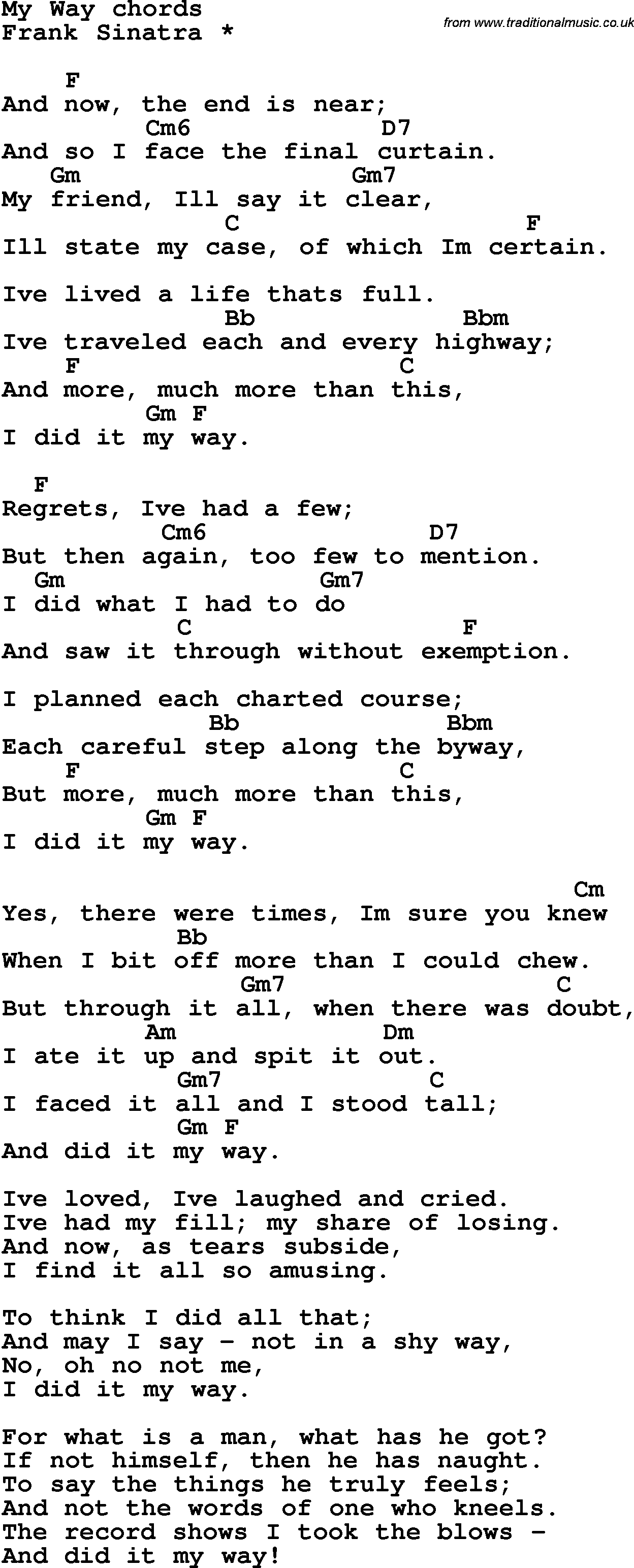 Song Lyrics With Guitar Chords For My Way Frank Sinatra
