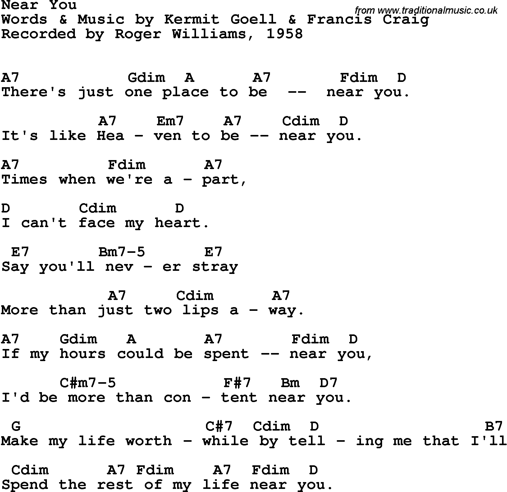 Song lyrics with guitar chords for Near You   Roger Williams, 15