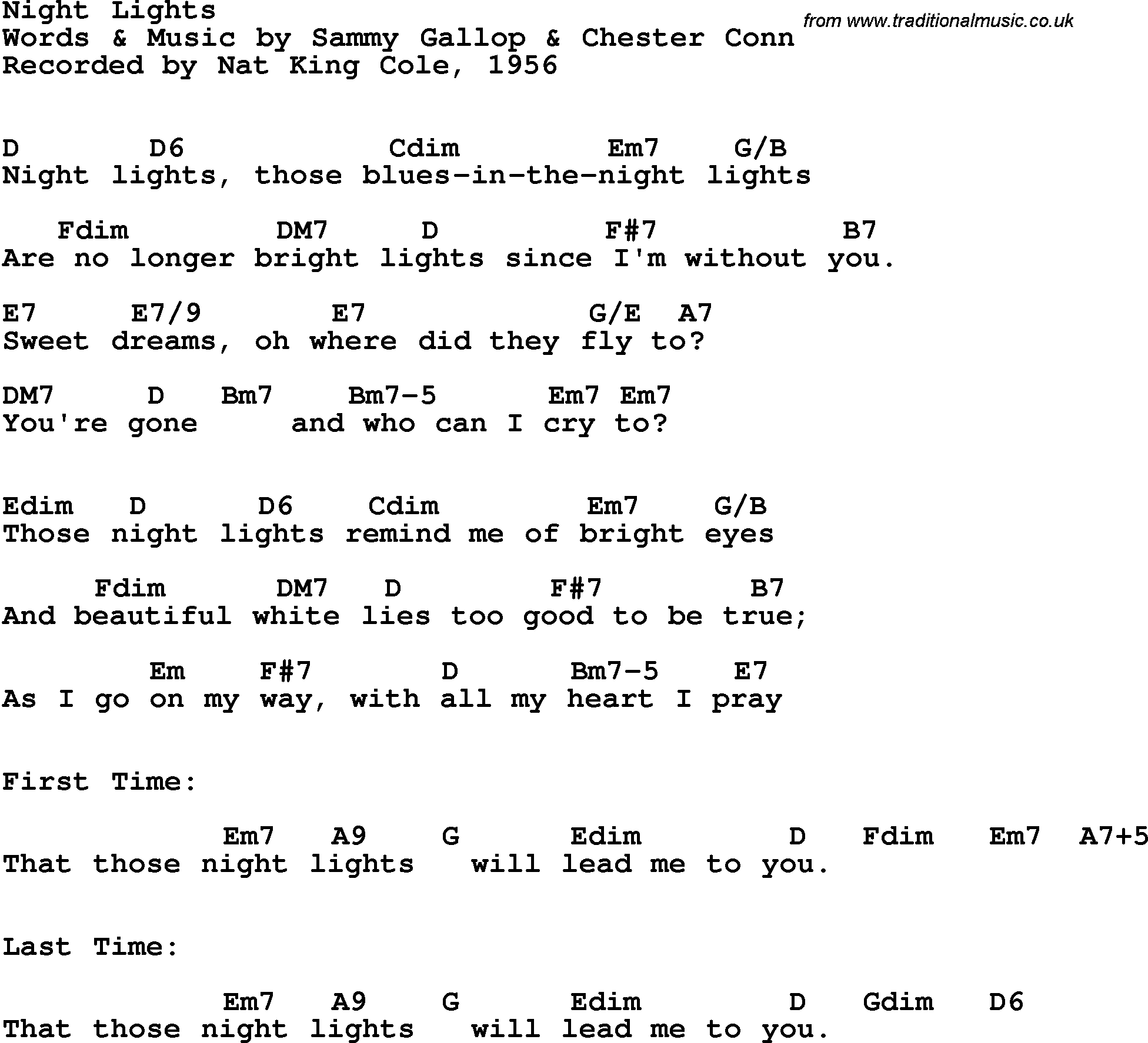 Song Lyrics With Guitar Chords For Night Lights Nat King Cole 1956