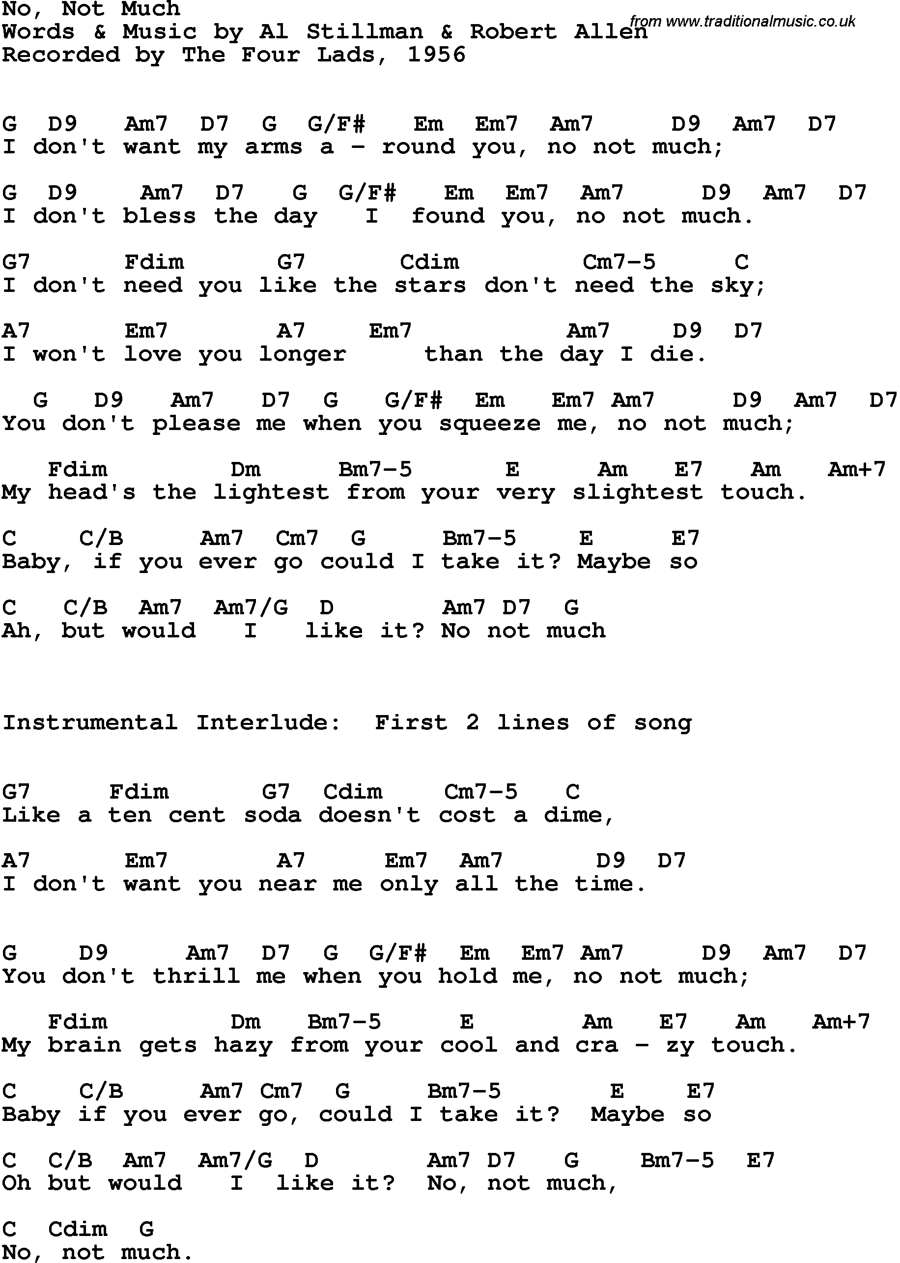 Song Lyrics With Guitar Chords For No Not Much The Four Lads 1956