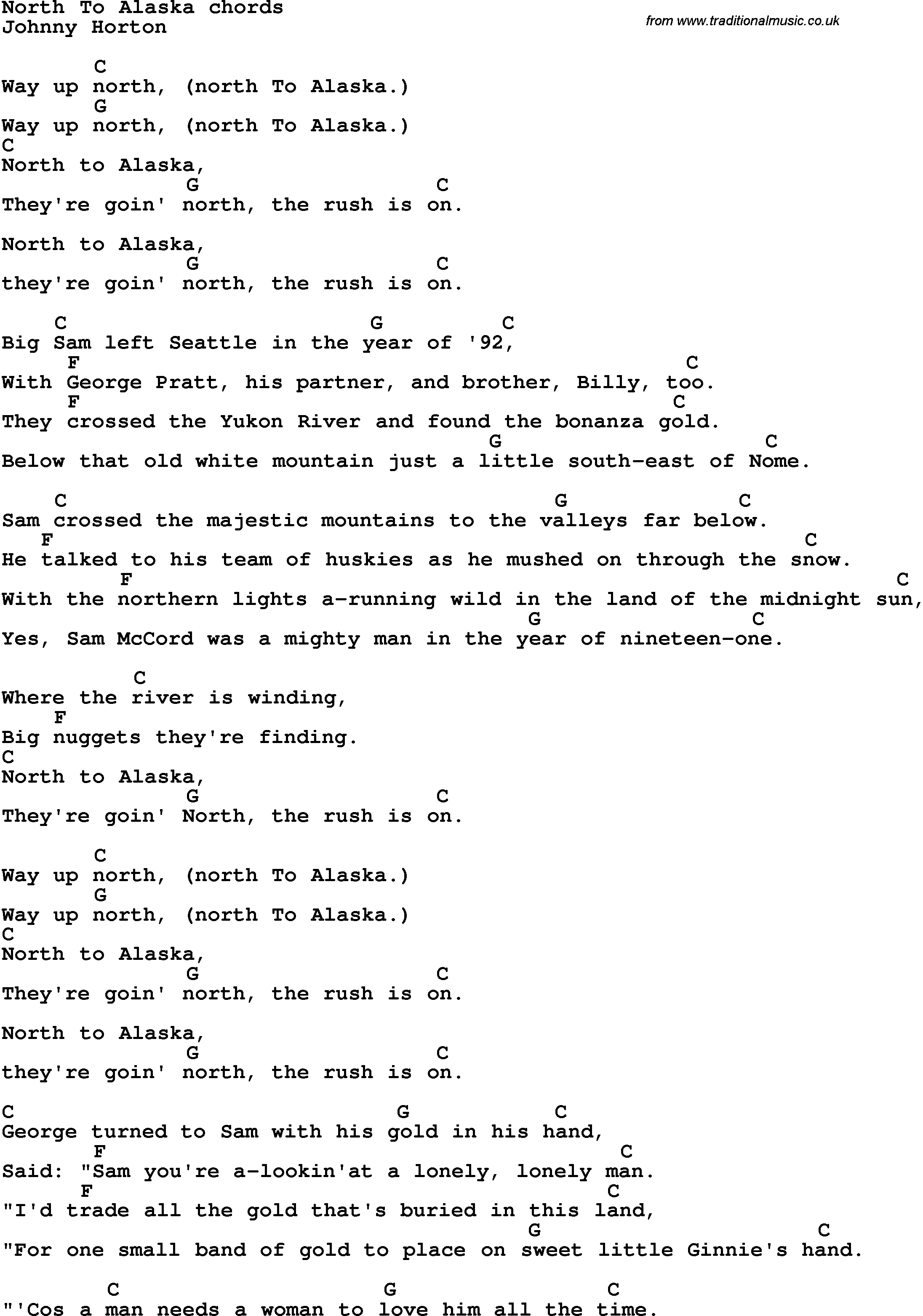 Song Lyrics With Guitar Chords For North To Alaska
