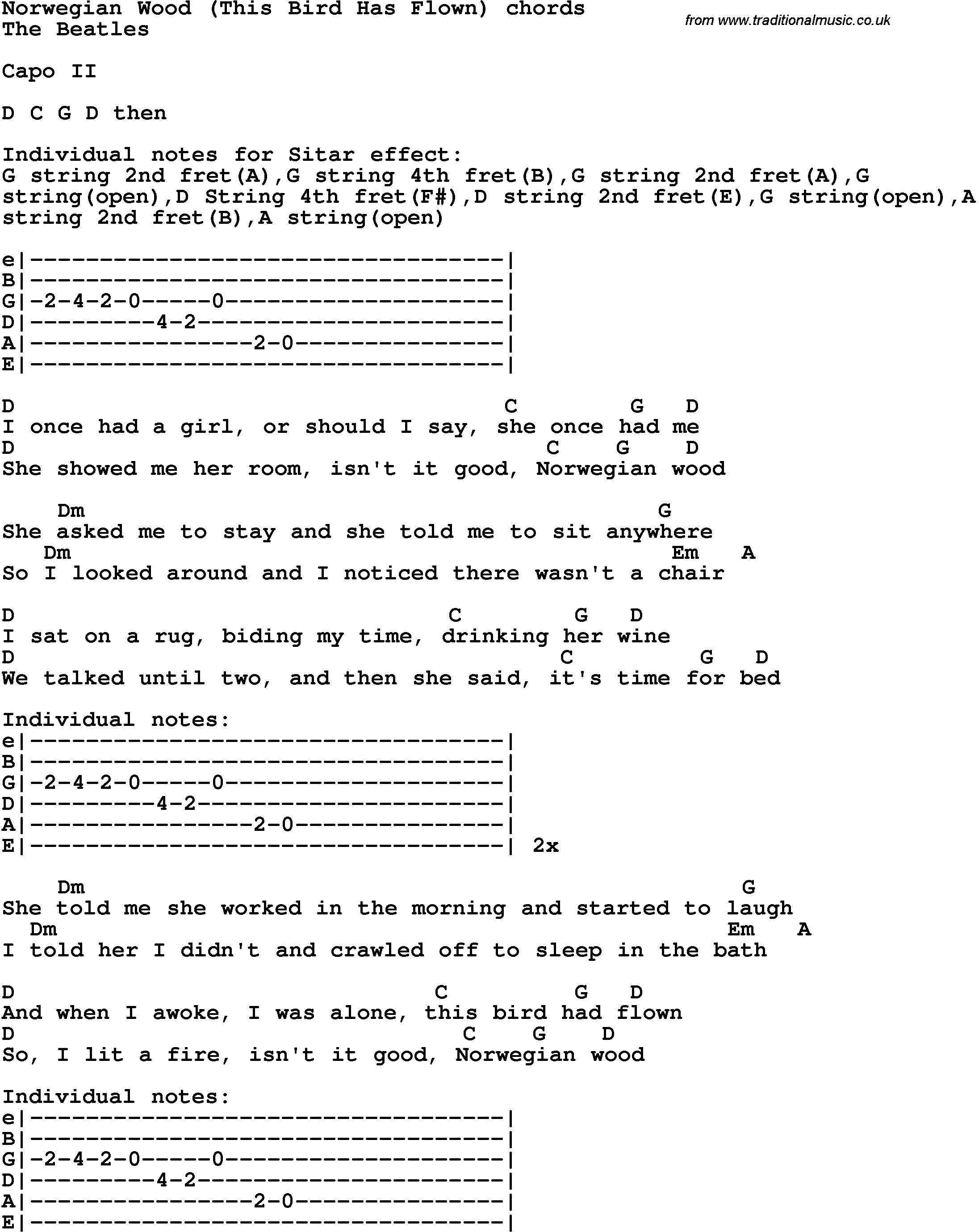 Wood Norwegian Wood Chords