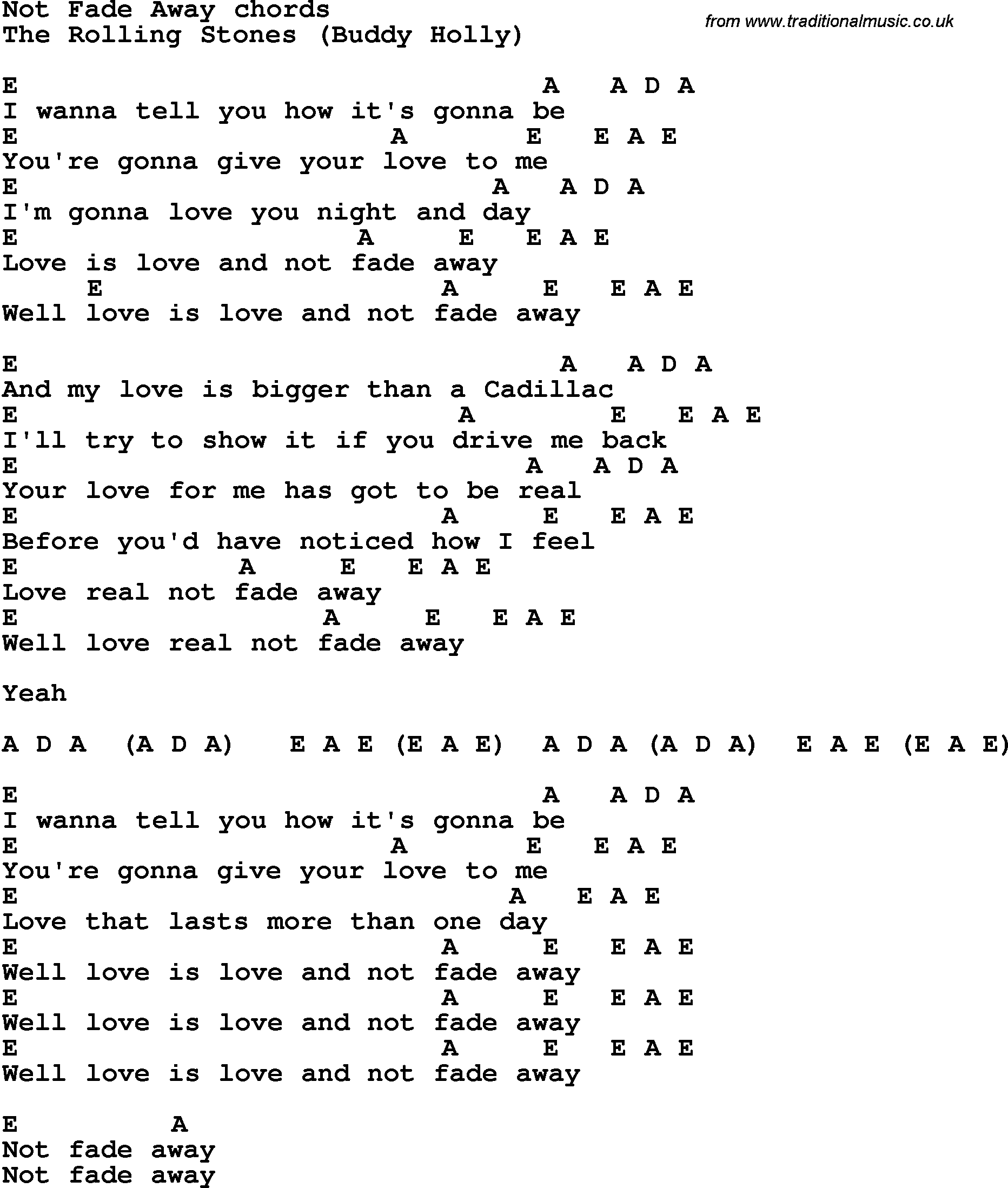 Song lyrics with guitar chords for Not Fade Away - The ... Rolling Stones Songs
