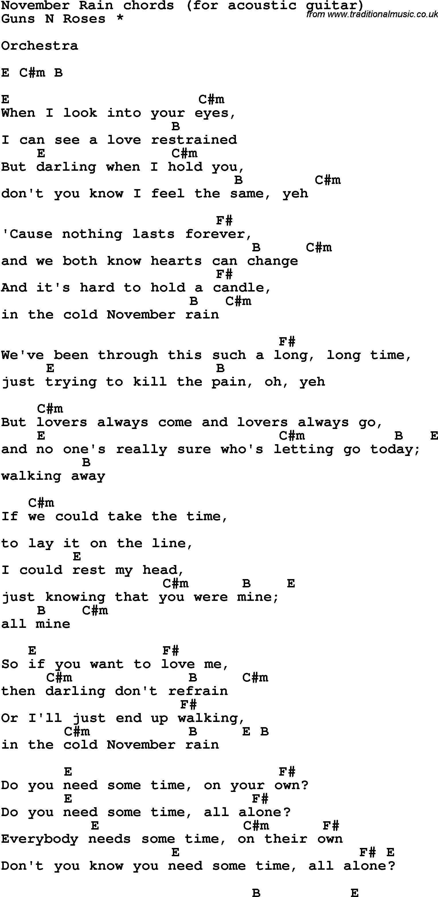 Song Lyrics With Guitar Chords For November Rain