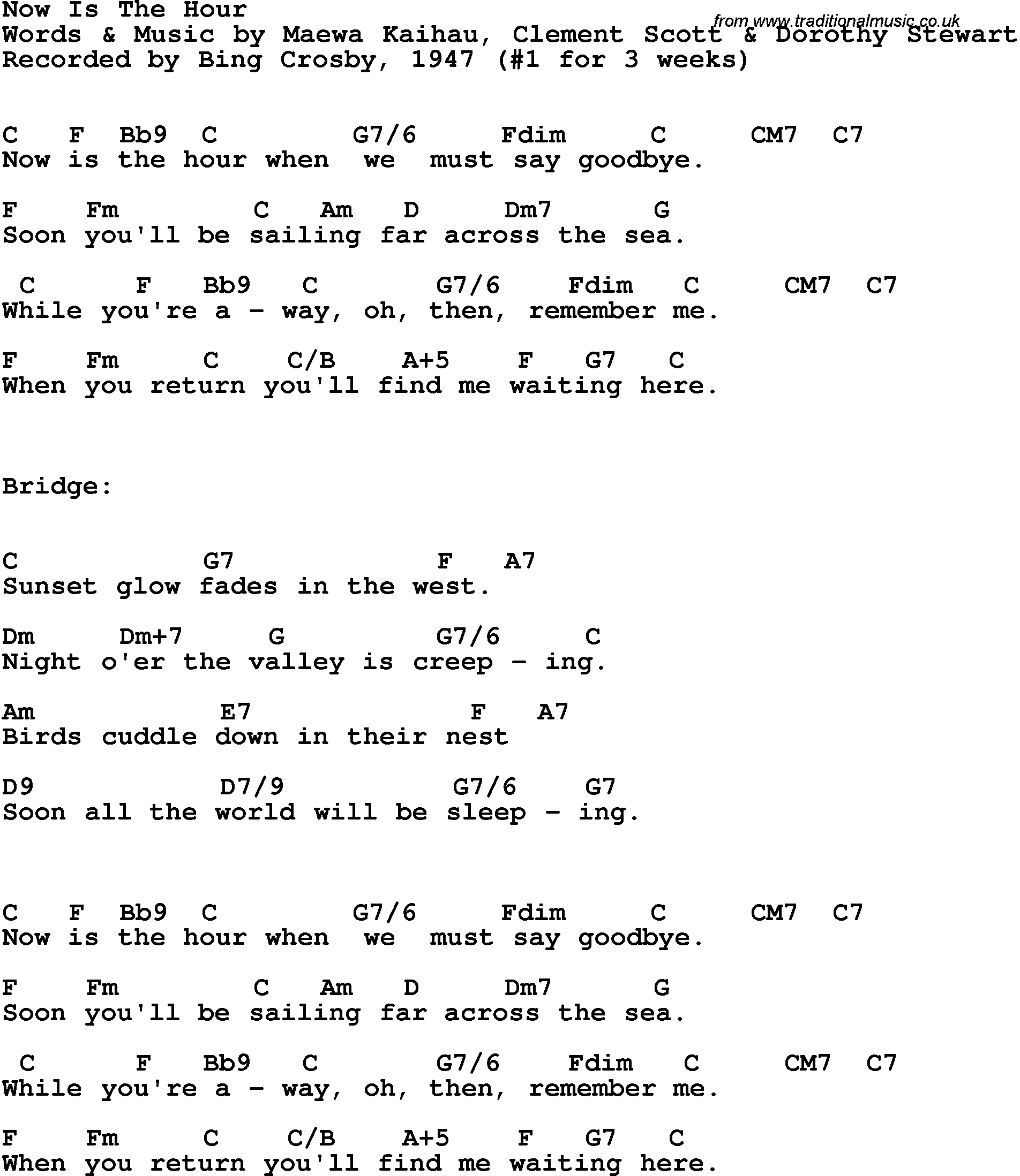 Song Lyrics With Guitar Chords For Now Is The Hour Bing Crosby 1947