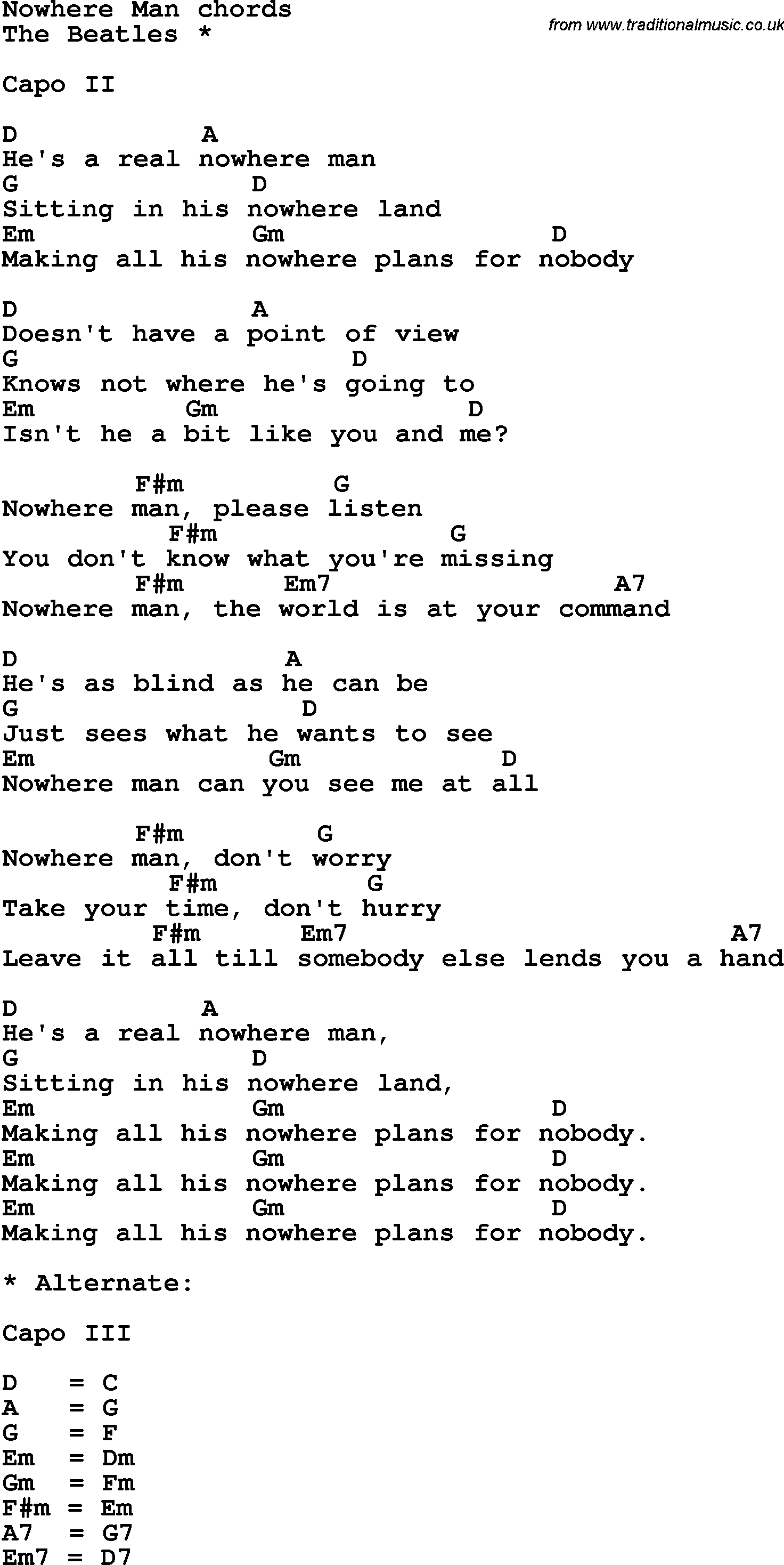 Song lyrics with guitar chords for nowhere man the beatles song lyrics with guitar chords for nowhere man the beatles hexwebz Choice Image