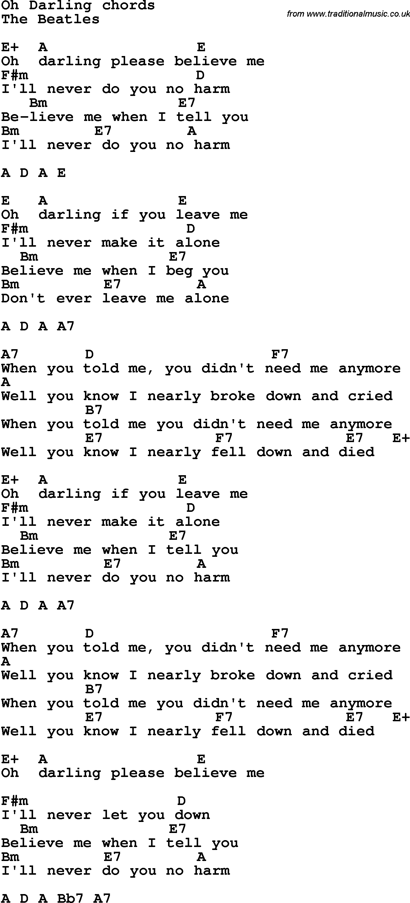 Song Lyrics With Guitar Chords For Oh Darling The Beatles