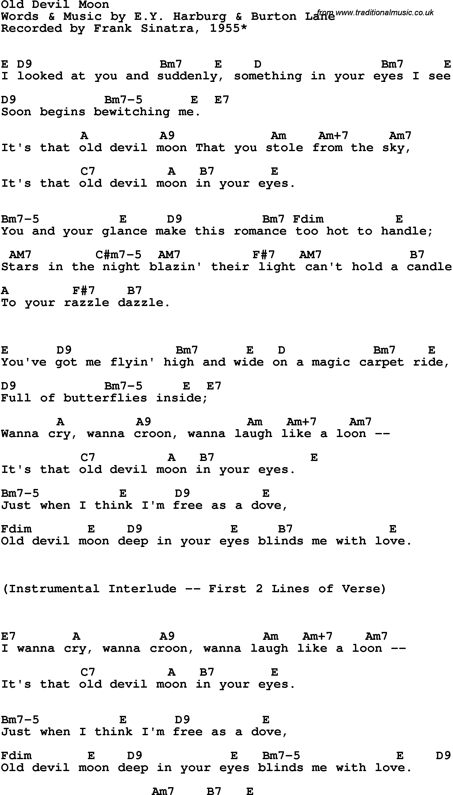 Song Lyrics With Guitar Chords For Old Devil Moon Frank Sinatra 1955