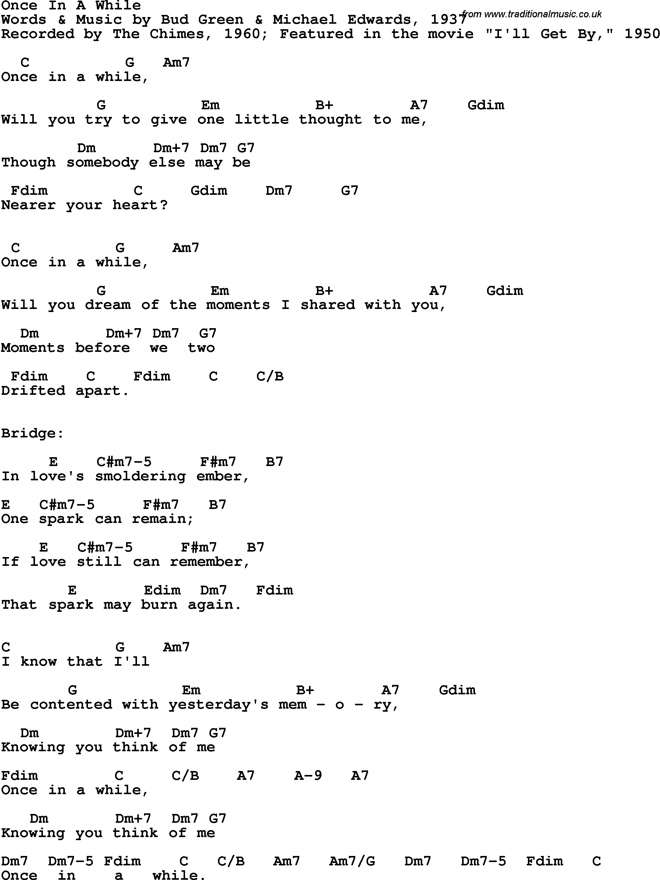 Song Lyrics With Guitar Chords For Once In A While The Chimes 1960