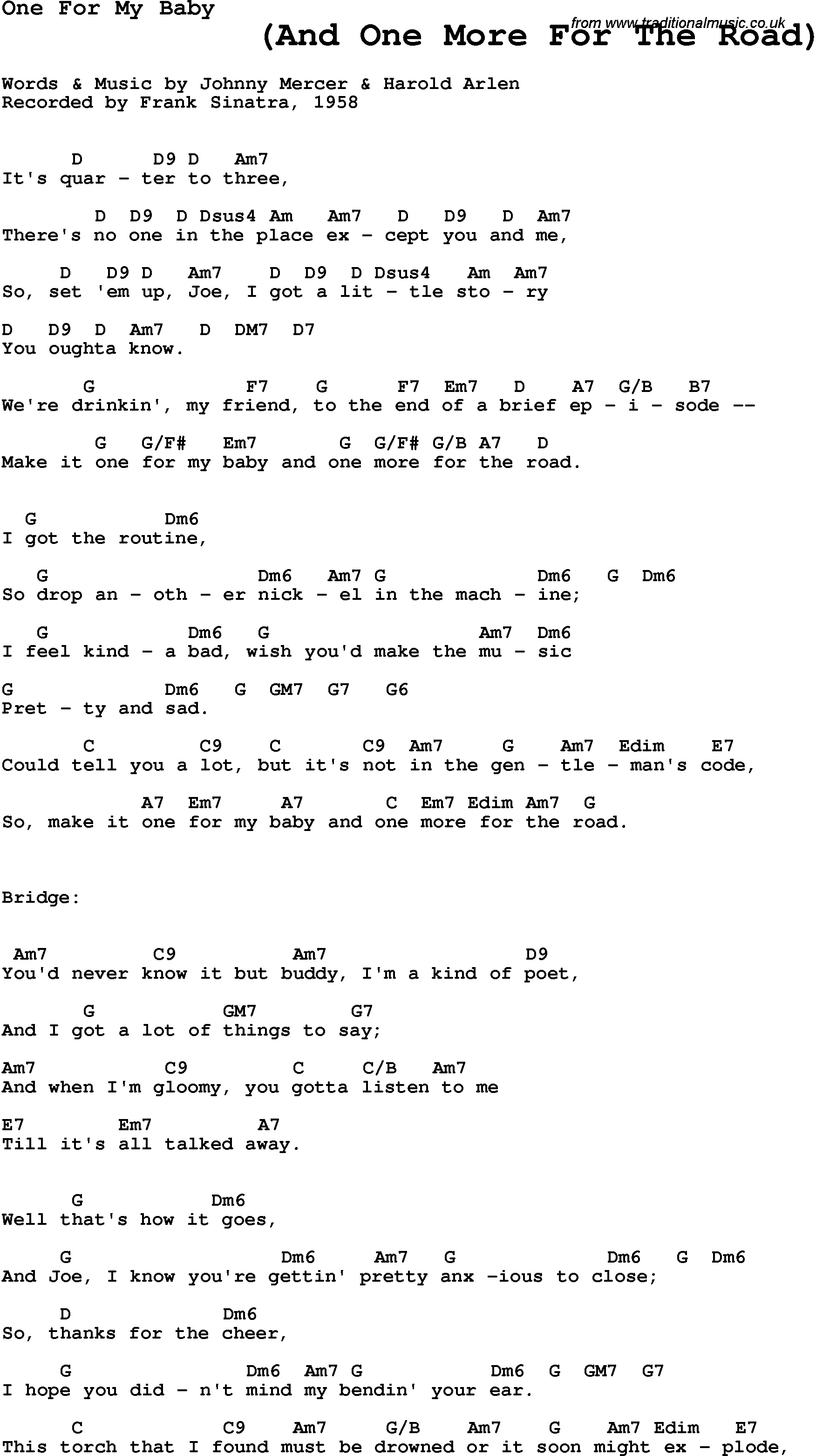 Song Lyrics With Guitar Chords For One For My Baby Frank Sinatra 1958