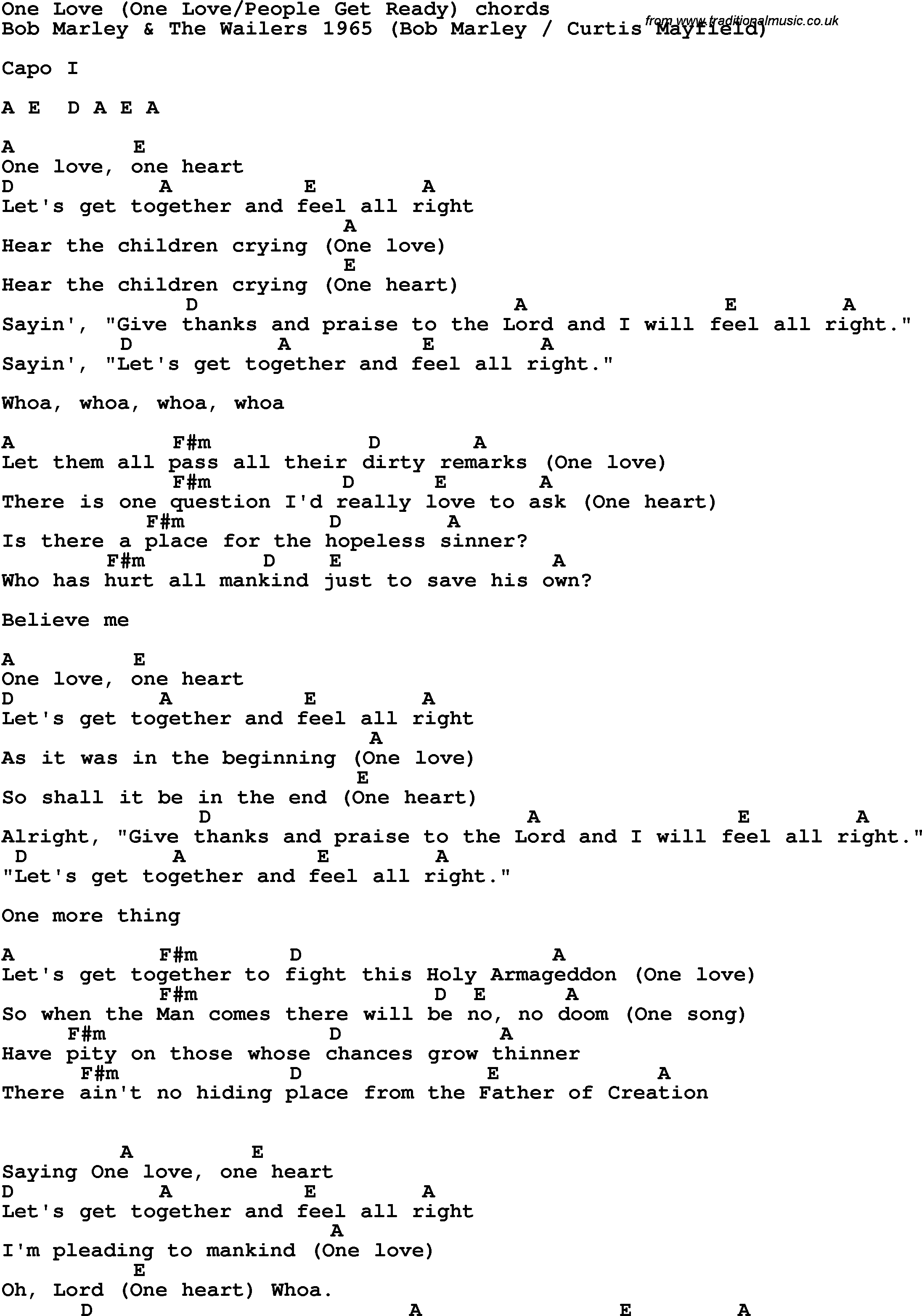Song Lyrics With Guitar Chords For One Love