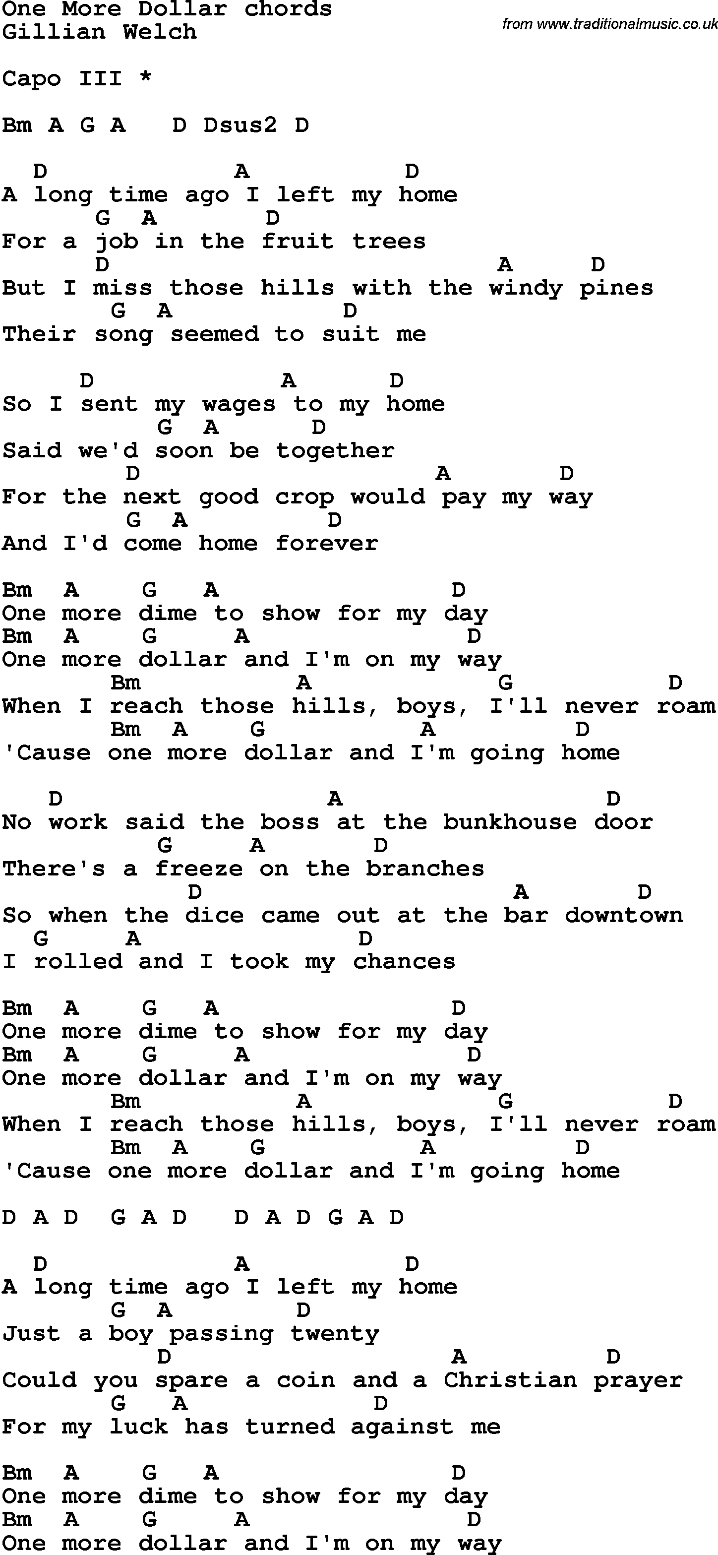 Song lyrics with guitar chords for One More Dollar