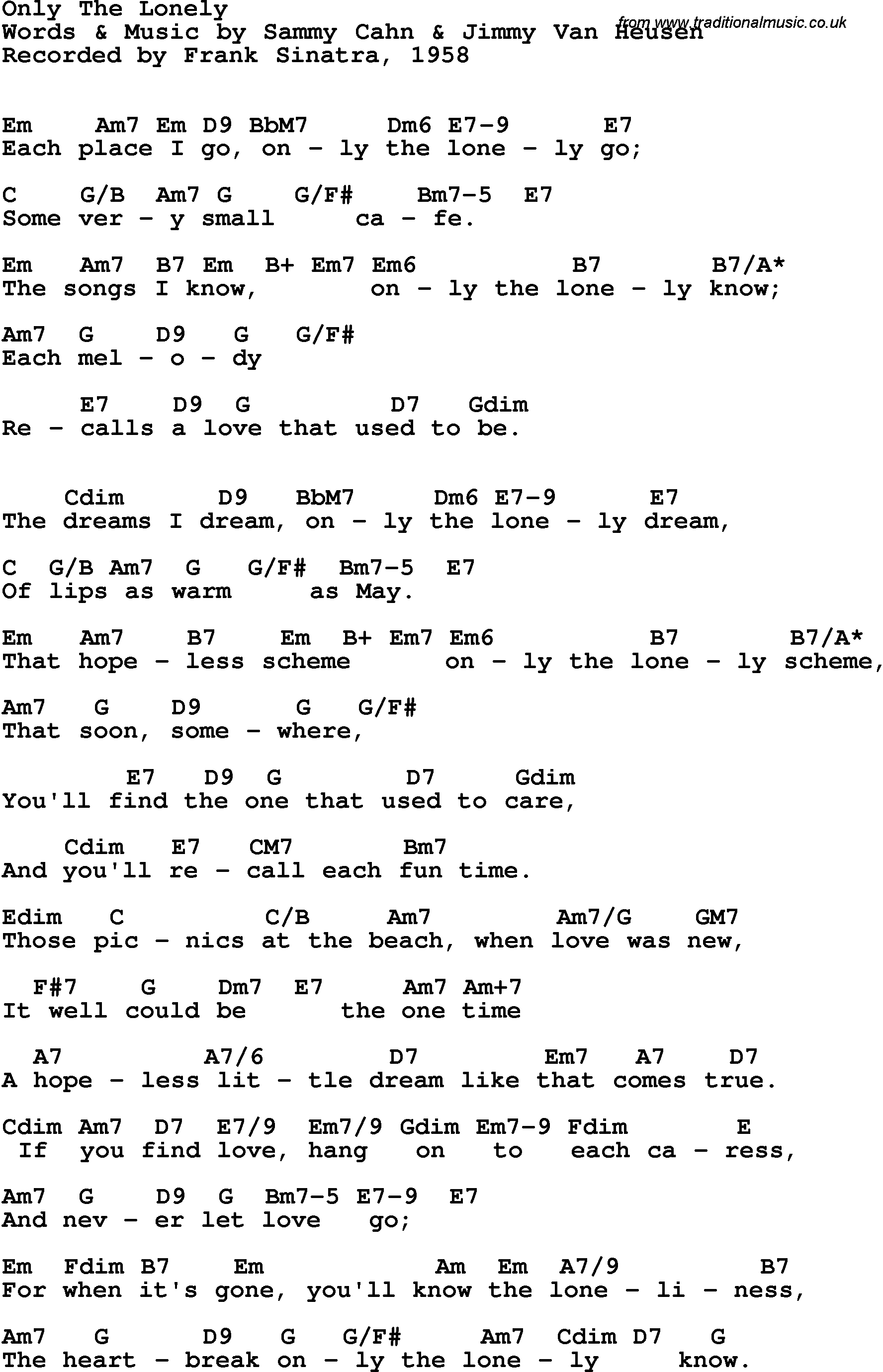 Song Lyrics With Guitar Chords For Only The Lonely Frank Sinatra 1958