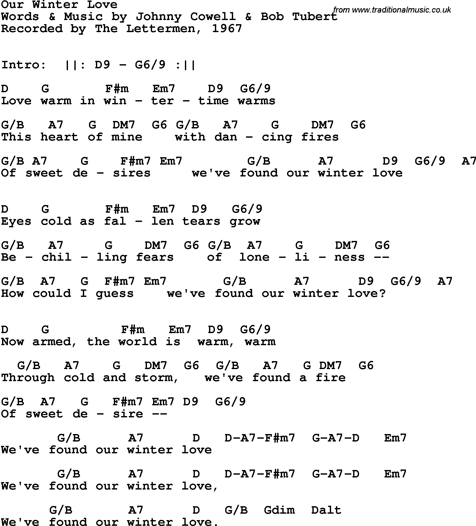 Song Lyrics With Guitar Chords For Our Winter Love The Lettermen 1967