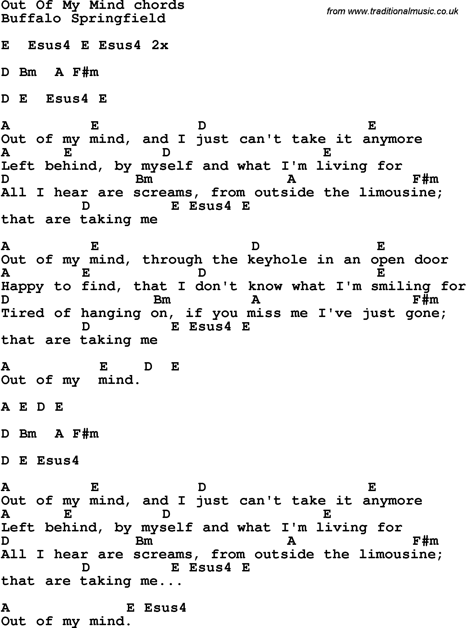 Song Lyrics With Guitar Chords For Out Of My Mind