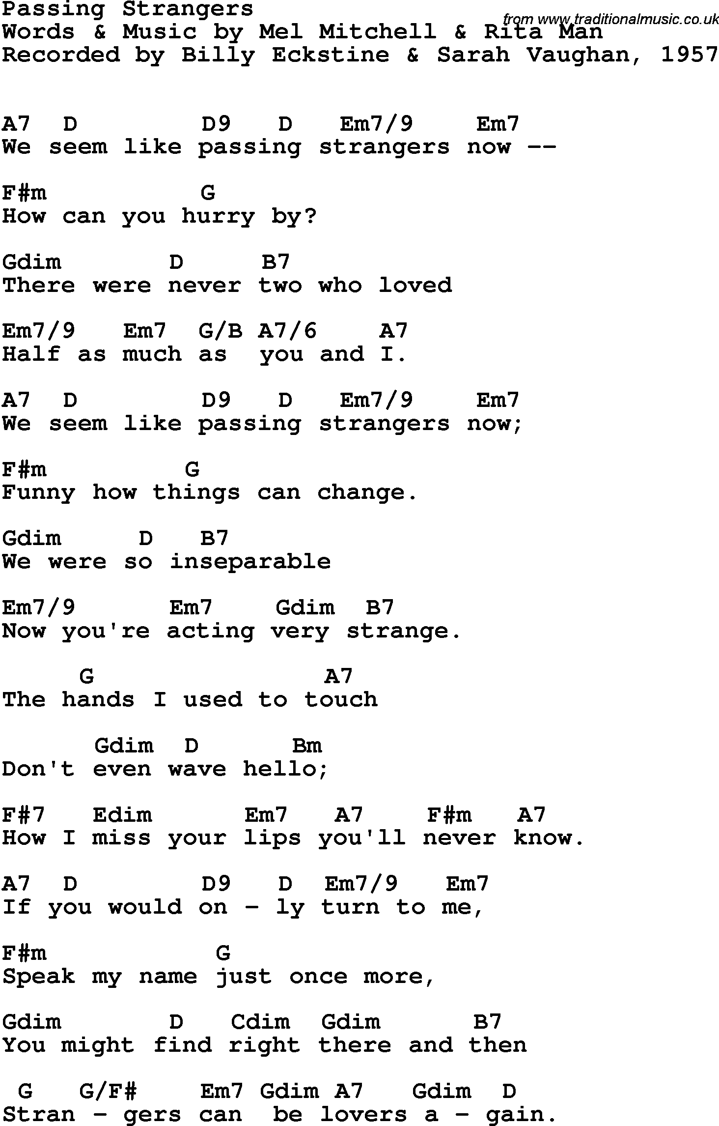 Song Lyrics With Guitar Chords For Passing Strangers Sarah Vaughan