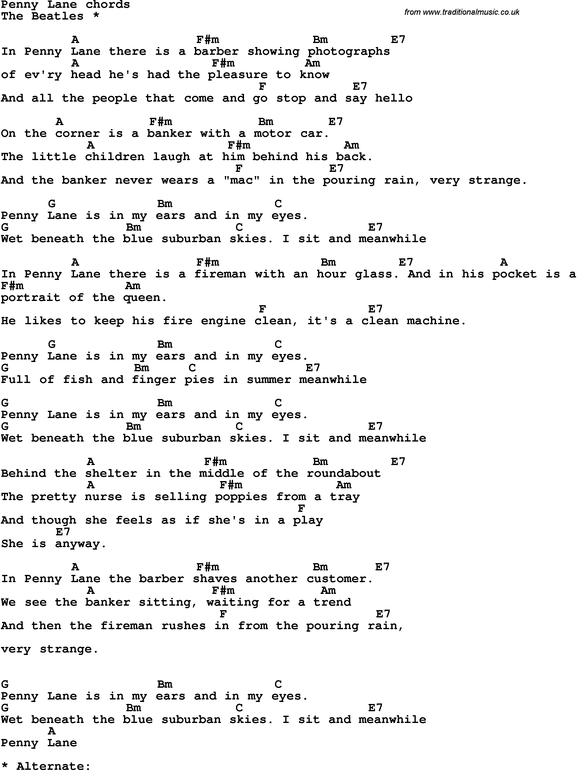 Song Lyrics With Guitar Chords For Penny Lane The Beatles