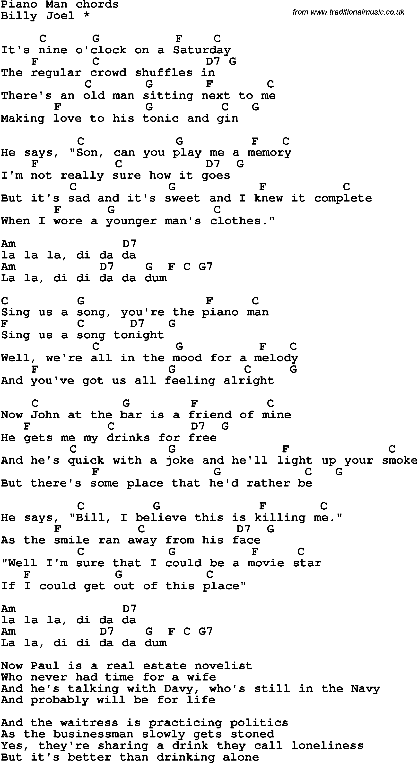 Song lyrics with guitar chords for Piano Man