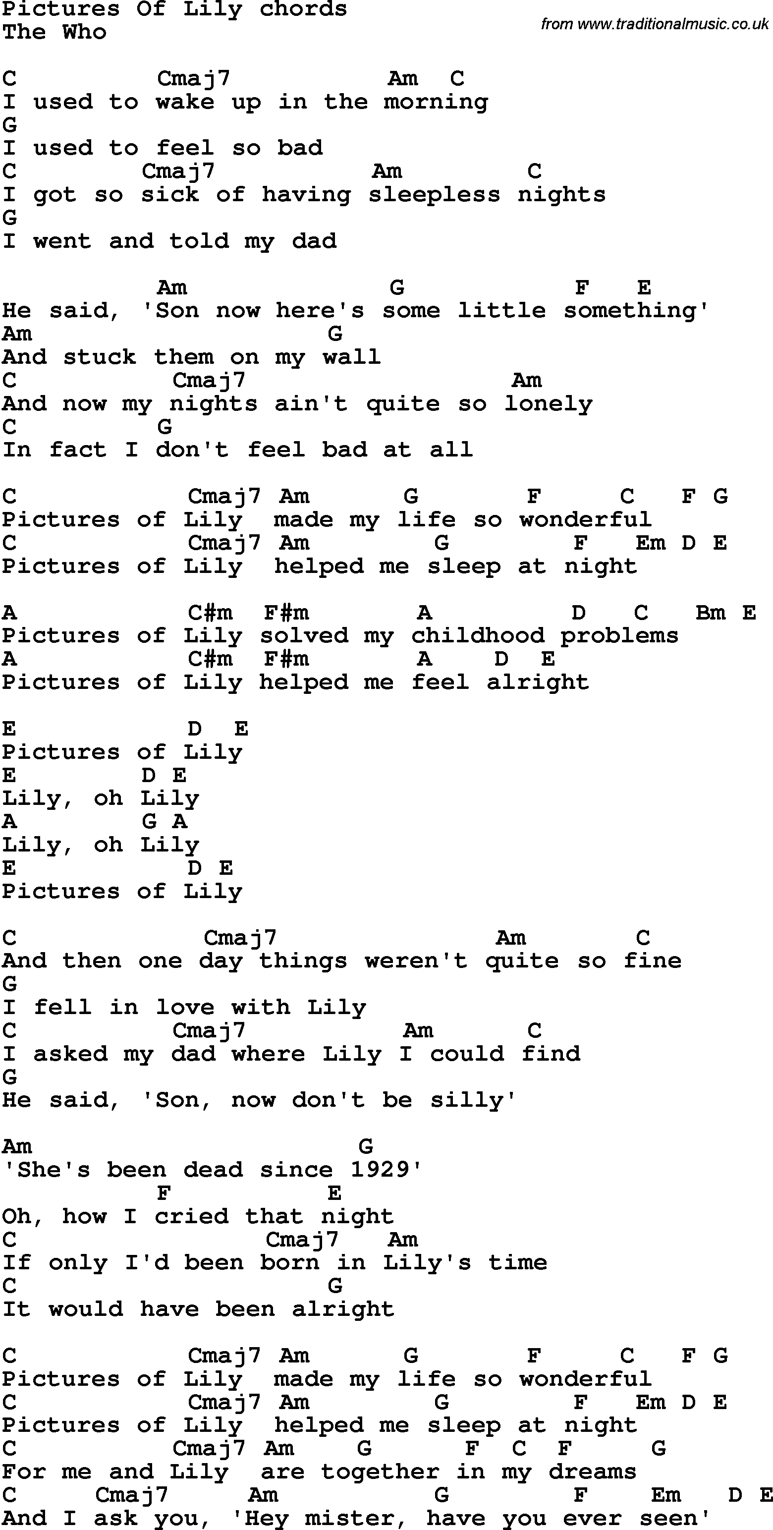 Song lyrics with guitar chords for Pictures Of Lily Pictures Of Lily Lyrics