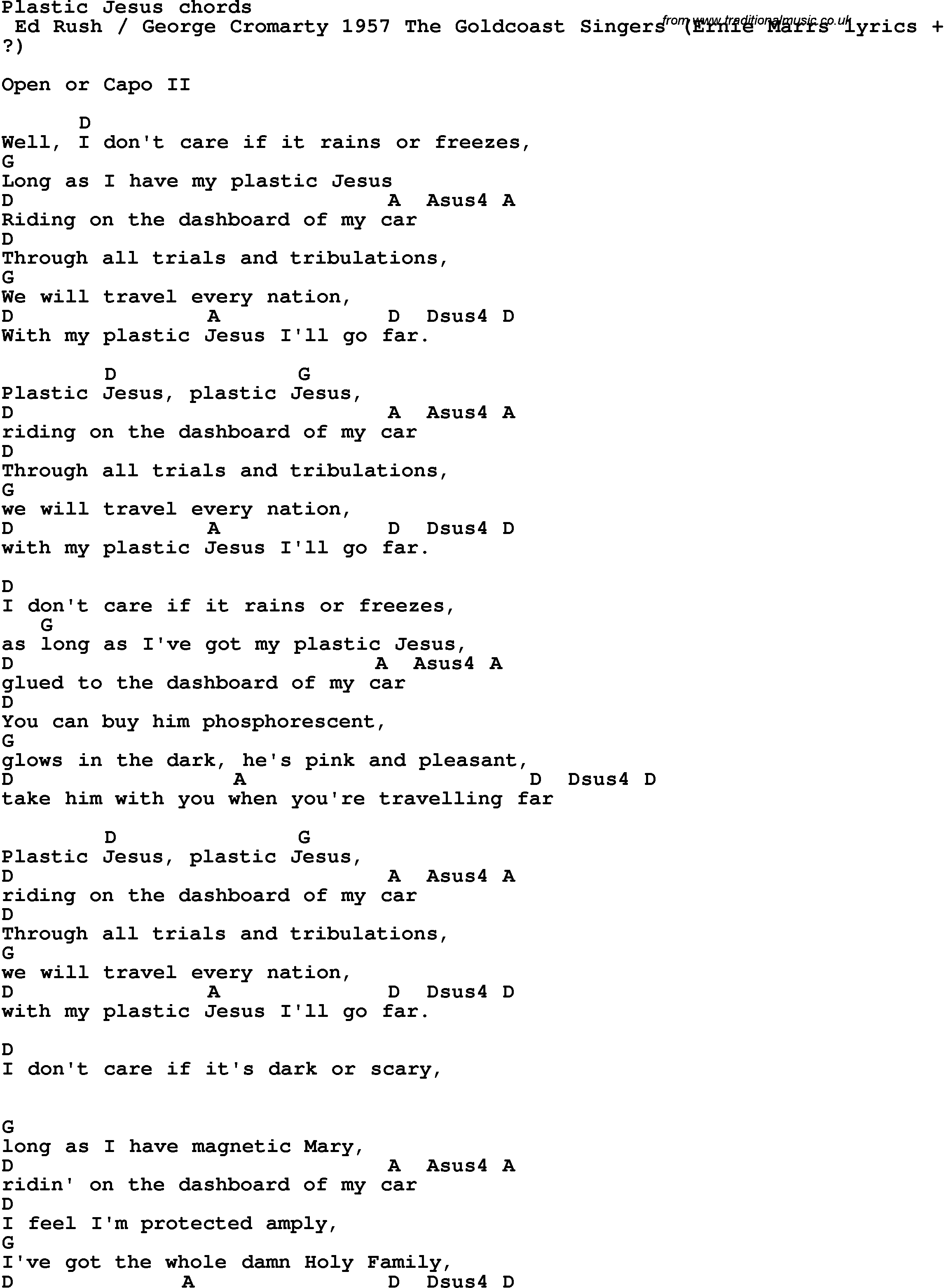 Song Lyrics With Guitar Chords For Plastic Jesus