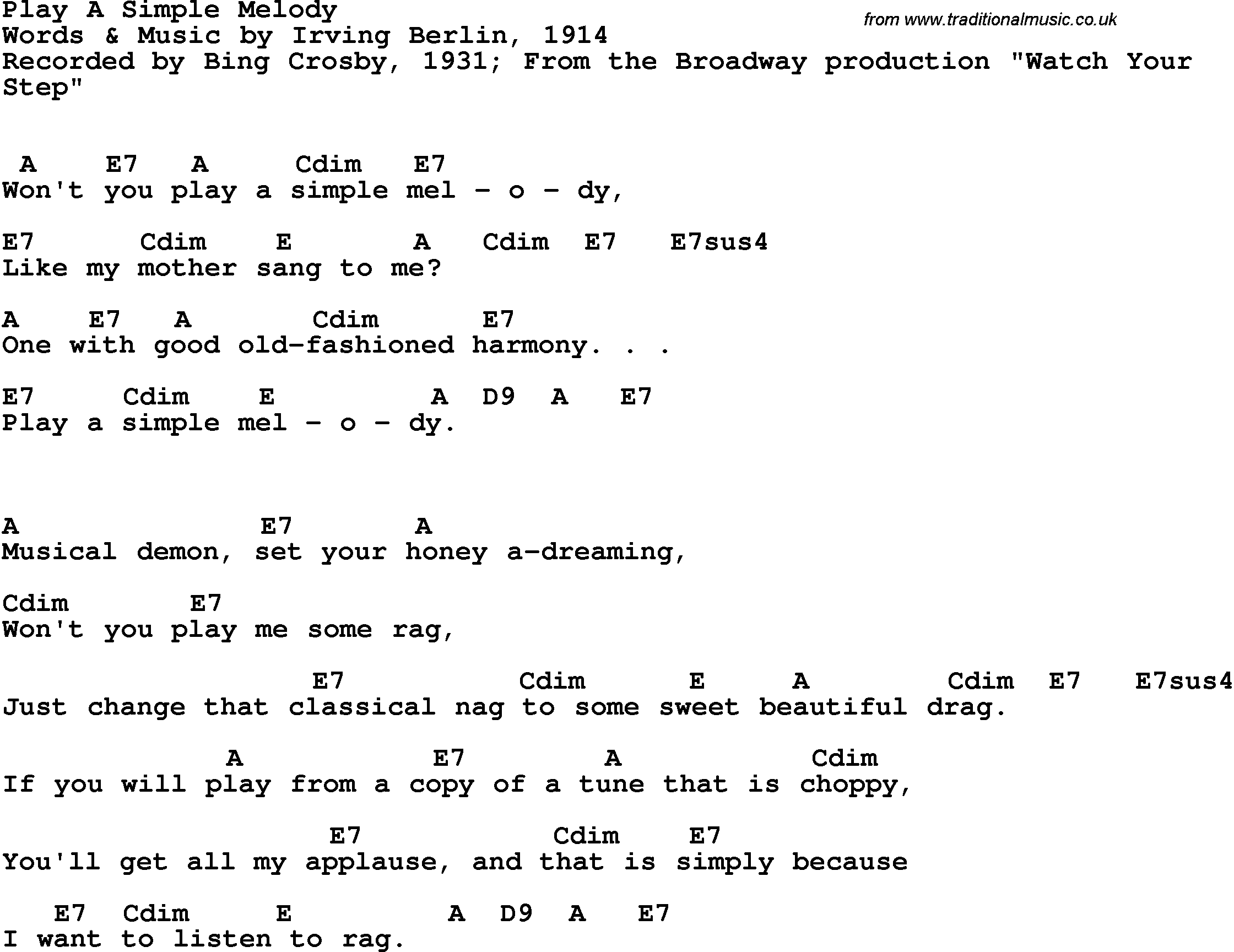Song Lyrics With Guitar Chords For Play A Simple Melody Bing
