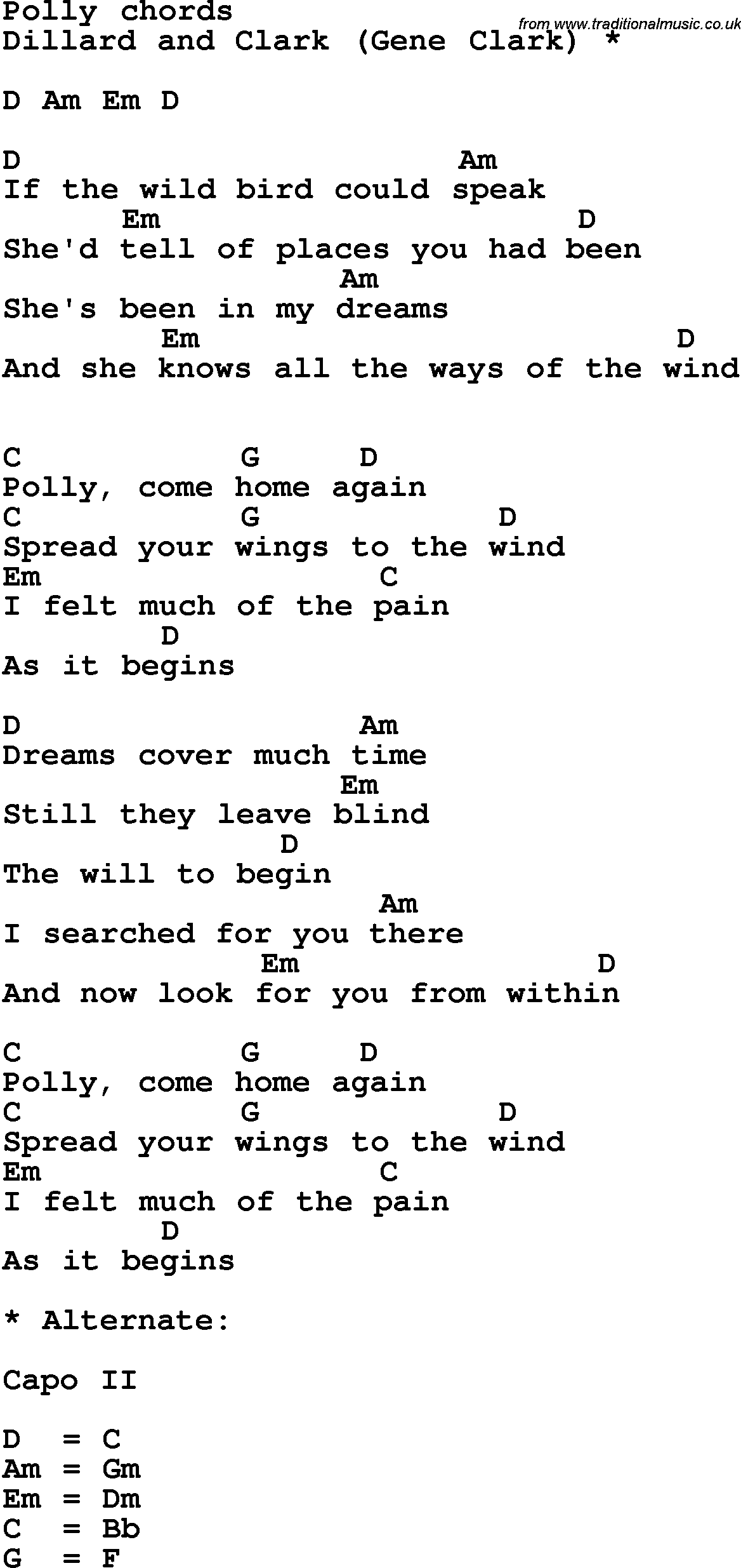 Song lyrics with guitar chords for polly dillard and clark song lyrics with guitar chords for polly dillard and clark hexwebz Images