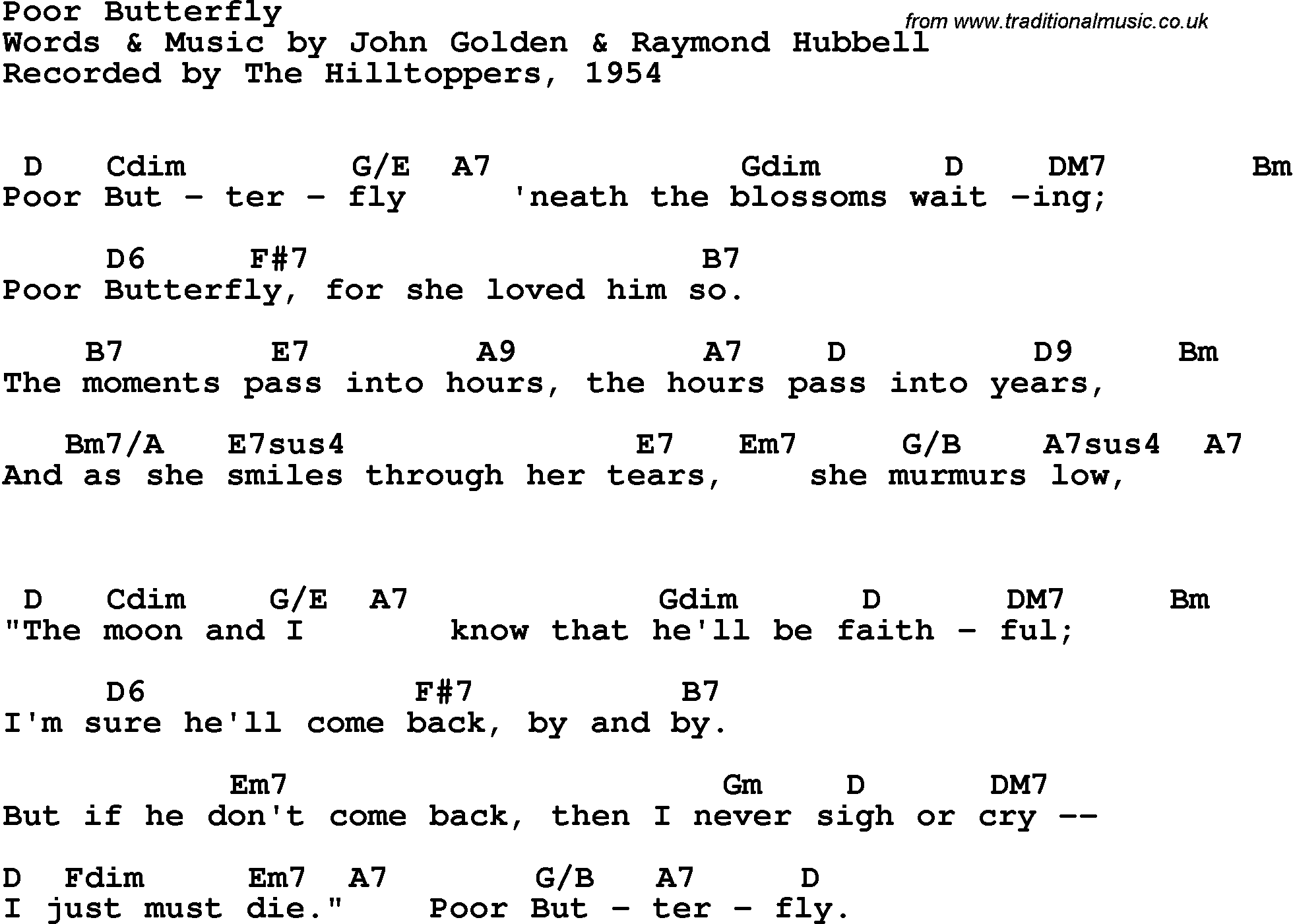 Song Lyrics With Guitar Chords For Poor Butterfly The Hilltoppers