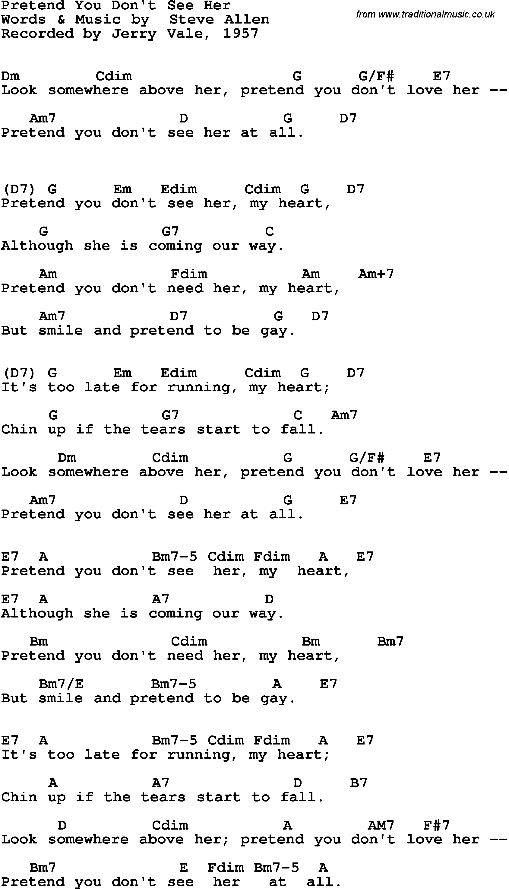 Song Lyrics With Guitar Chords For Pretend You Dont See Her Jerry