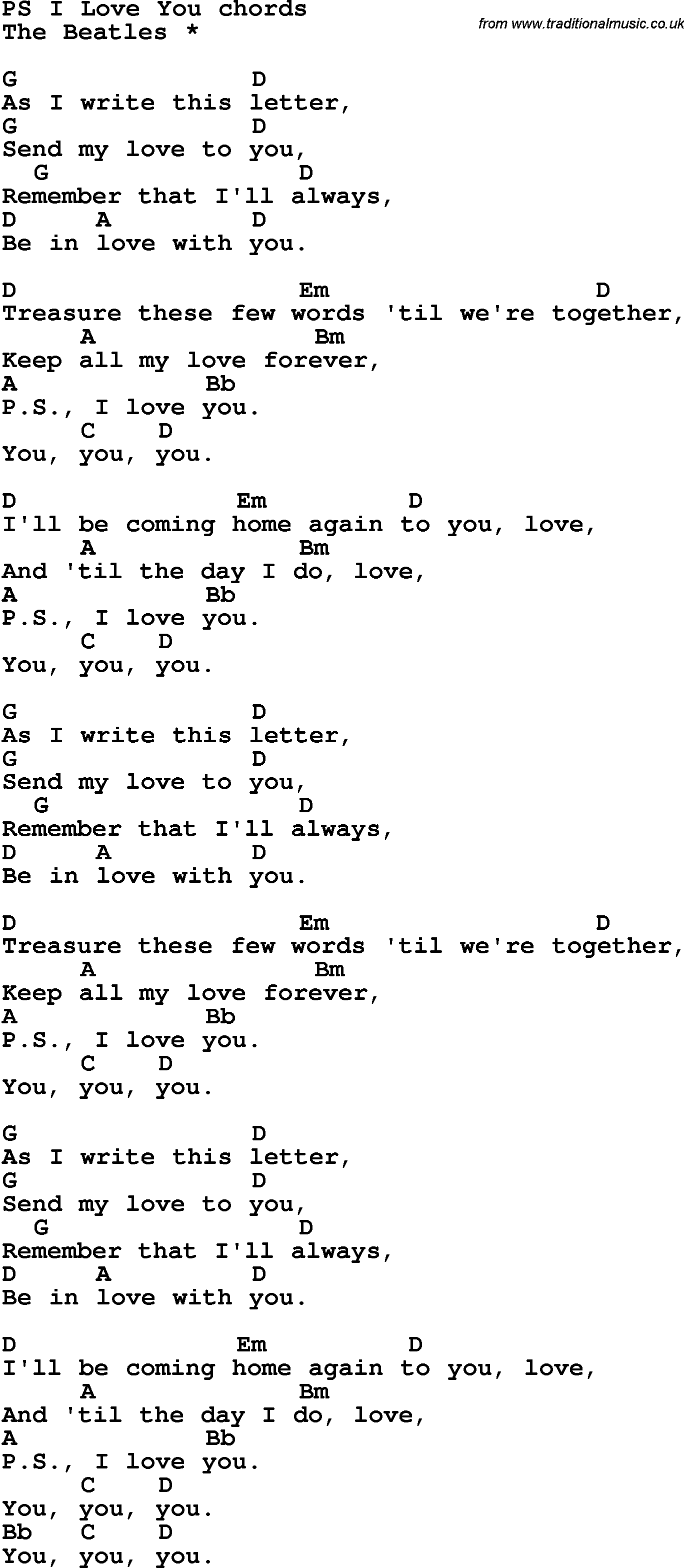 Song Lyrics With Guitar Chords For Ps I Love You The Beatles
