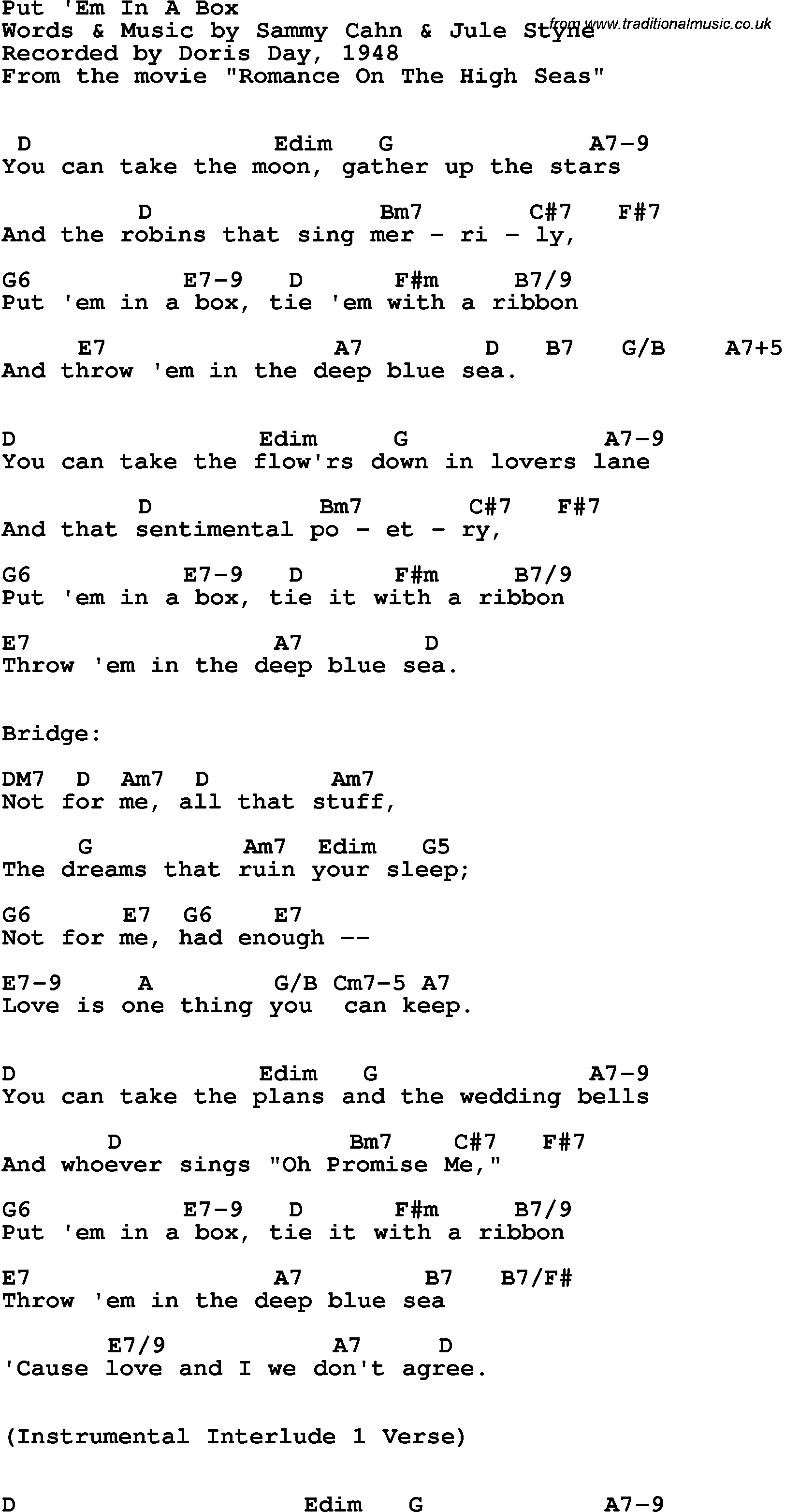 Song Lyrics With Guitar Chords For Put Em In A Box Doris Day 1948