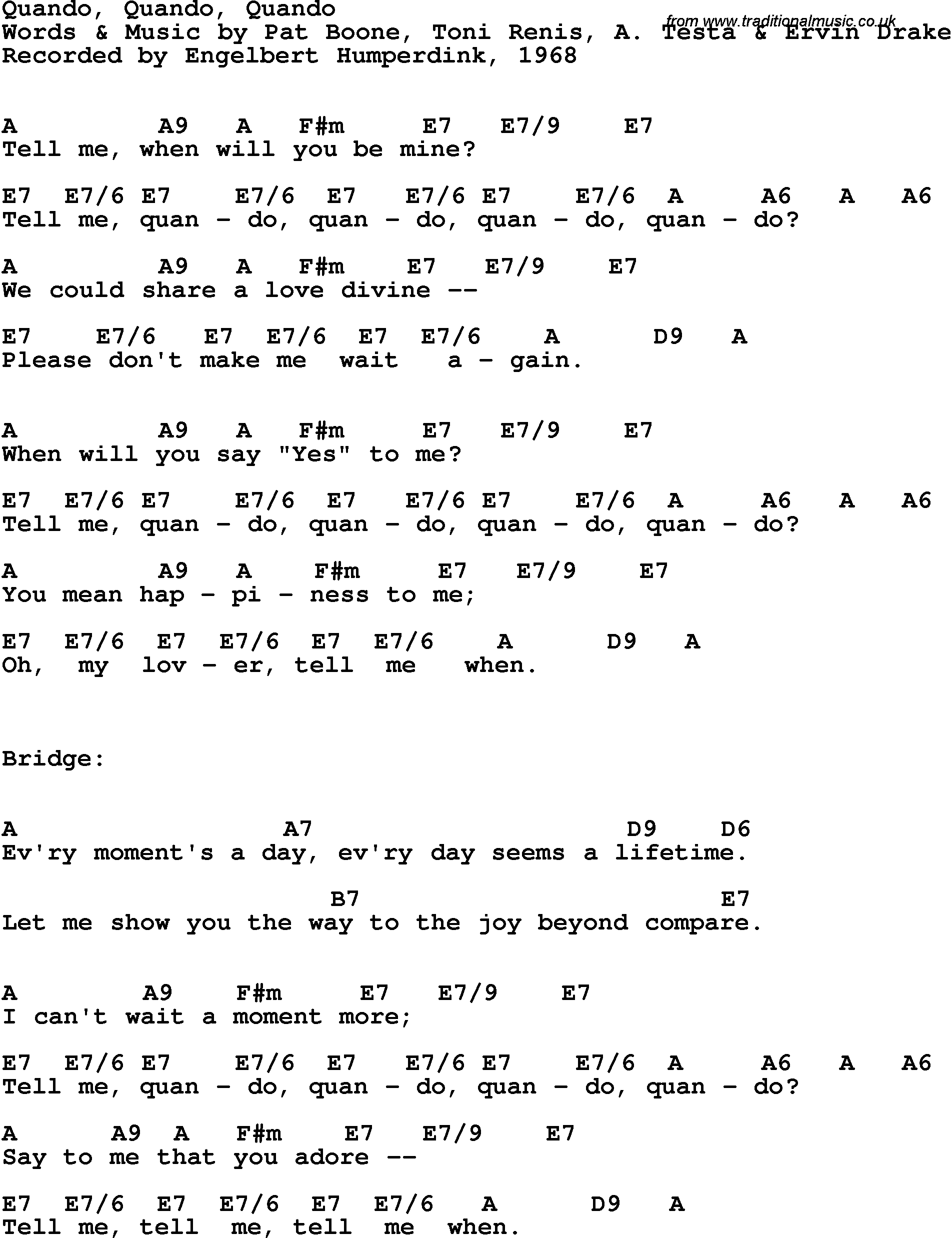 Song Lyrics With Guitar Chords For Quando Quando Quando