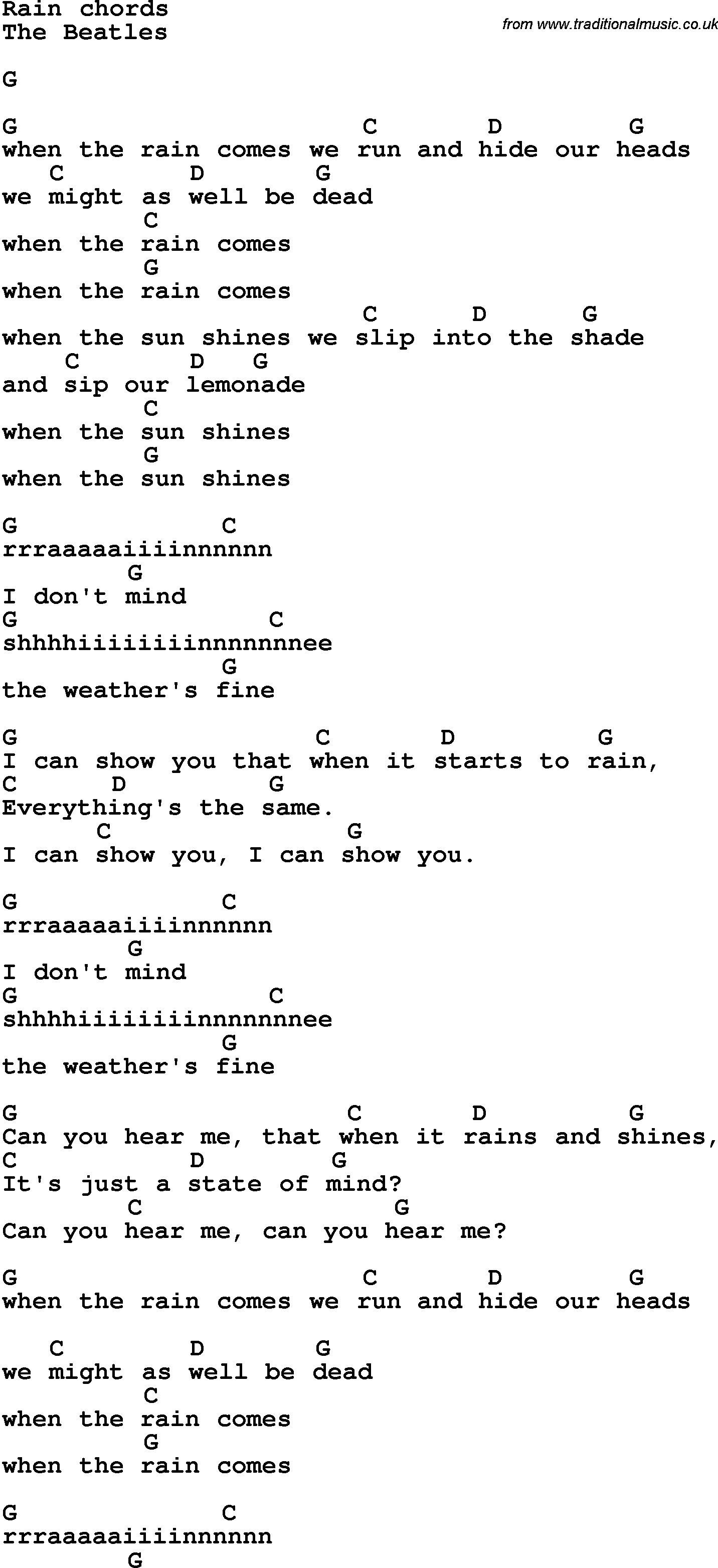 Song lyrics with guitar chords for rain the beatles song lyrics with guitar chords for rain the beatles hexwebz Images