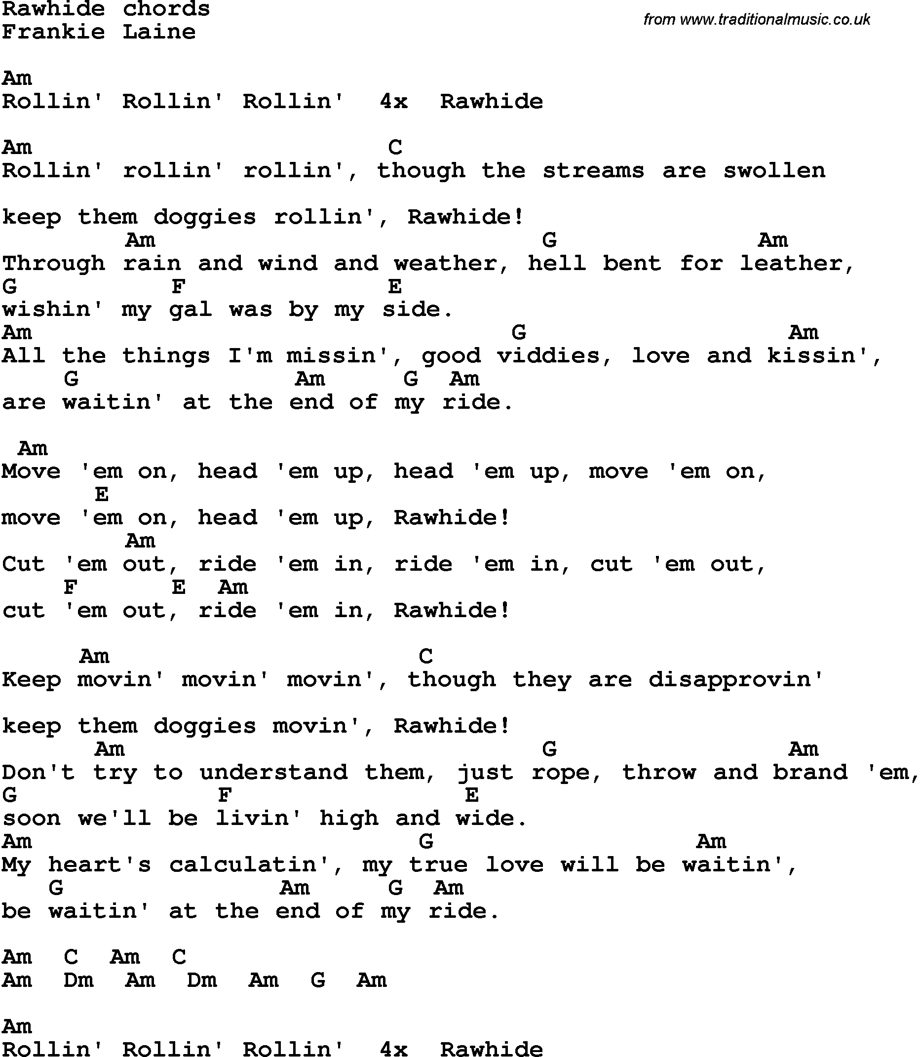 Song Lyrics With Guitar Chords For Rawhide