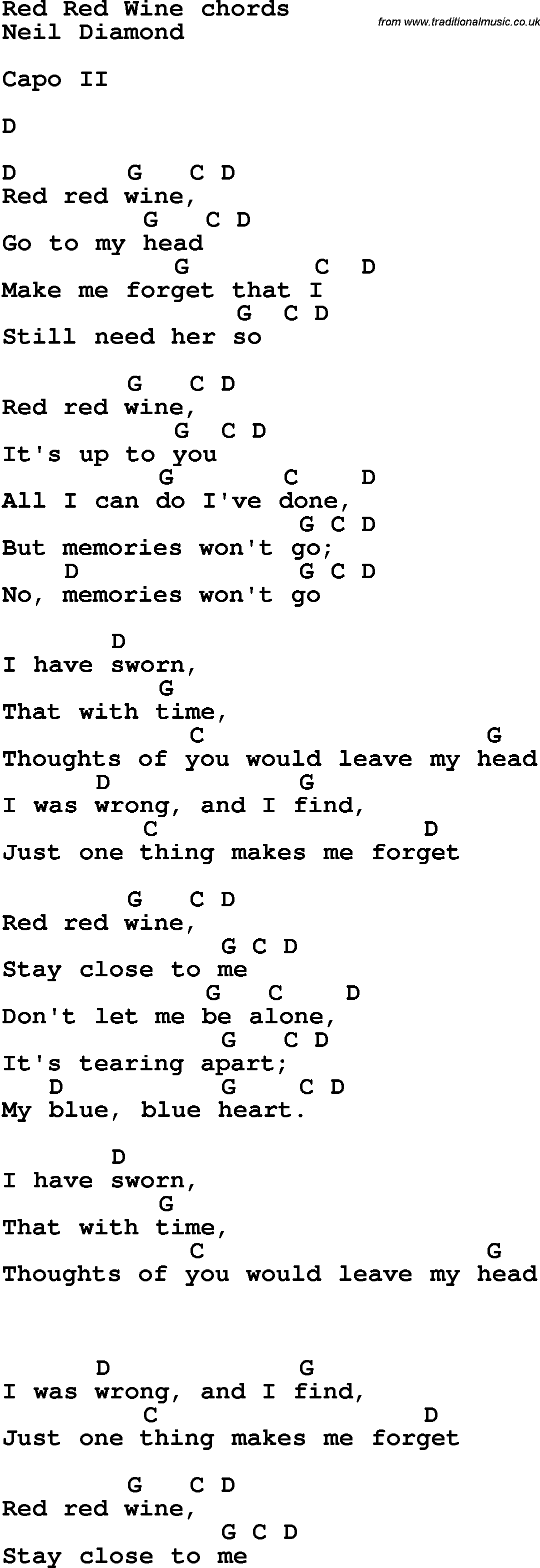 Song lyrics with guitar chords for red red wine song lyrics with guitar chords for red red wine hexwebz Images