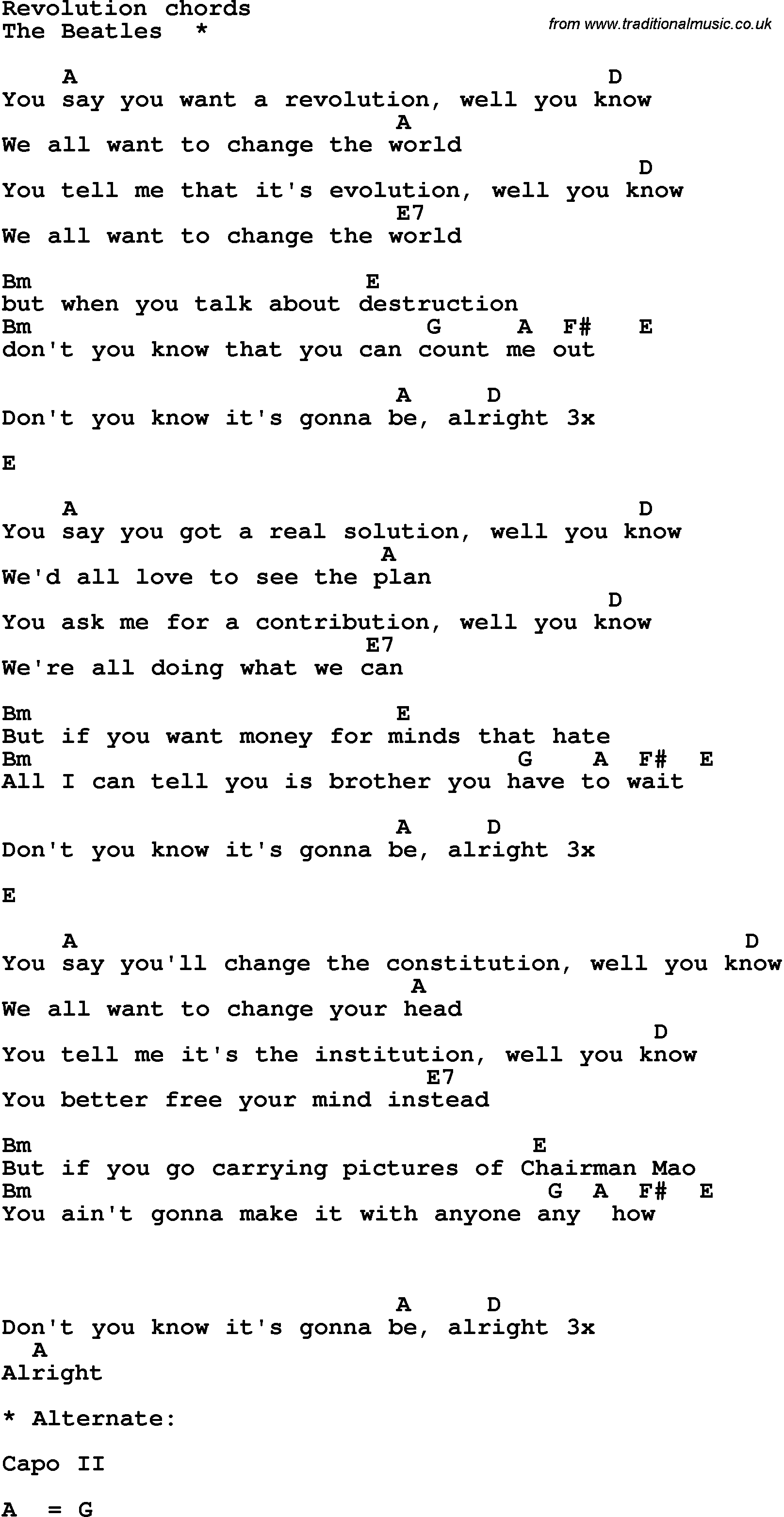 Song lyrics with guitar chords for revolution the beatles song lyrics with guitar chords for revolution the beatles hexwebz Images