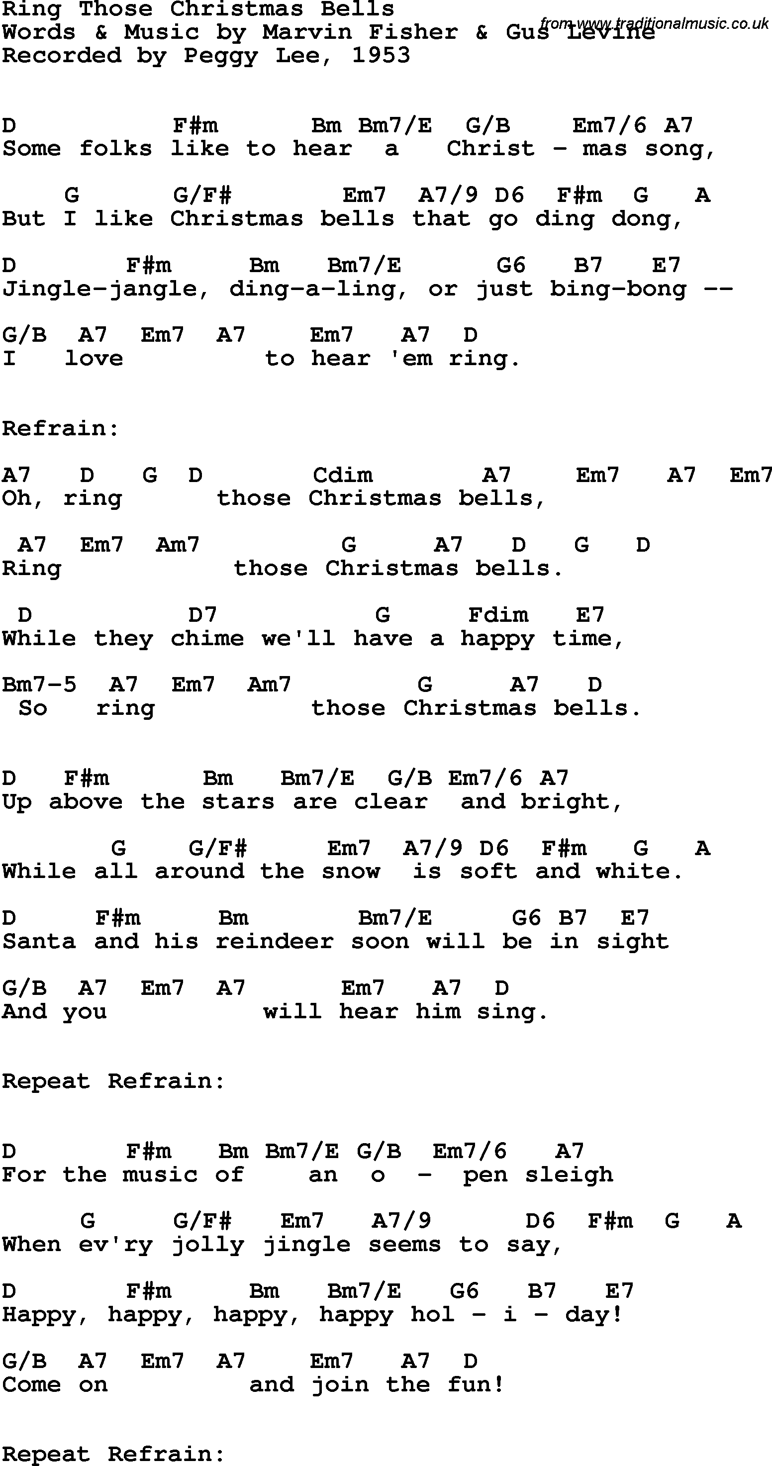 Song lyrics with guitar chords for ring those christmas