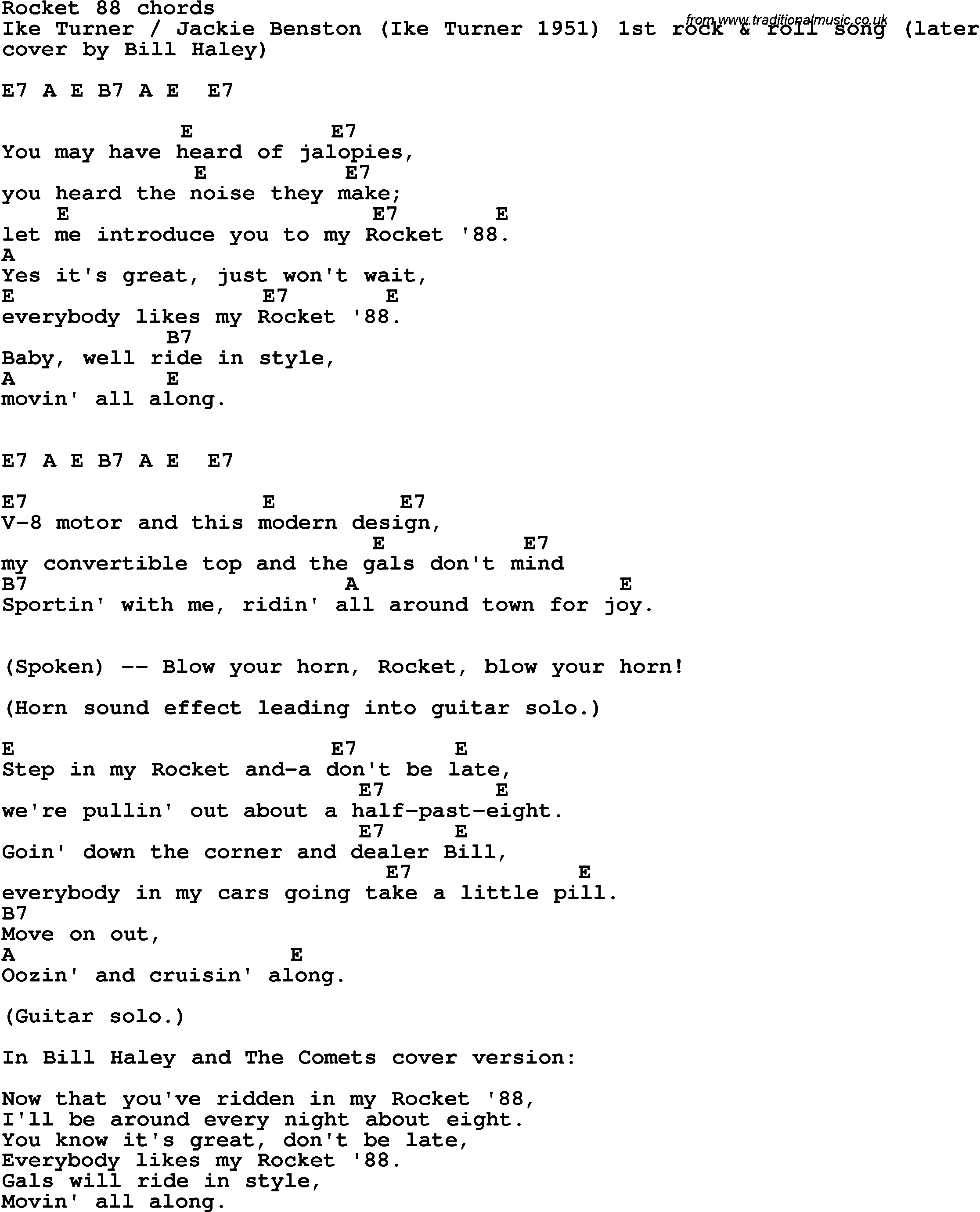 Song Lyrics With Guitar Chords For Rocket