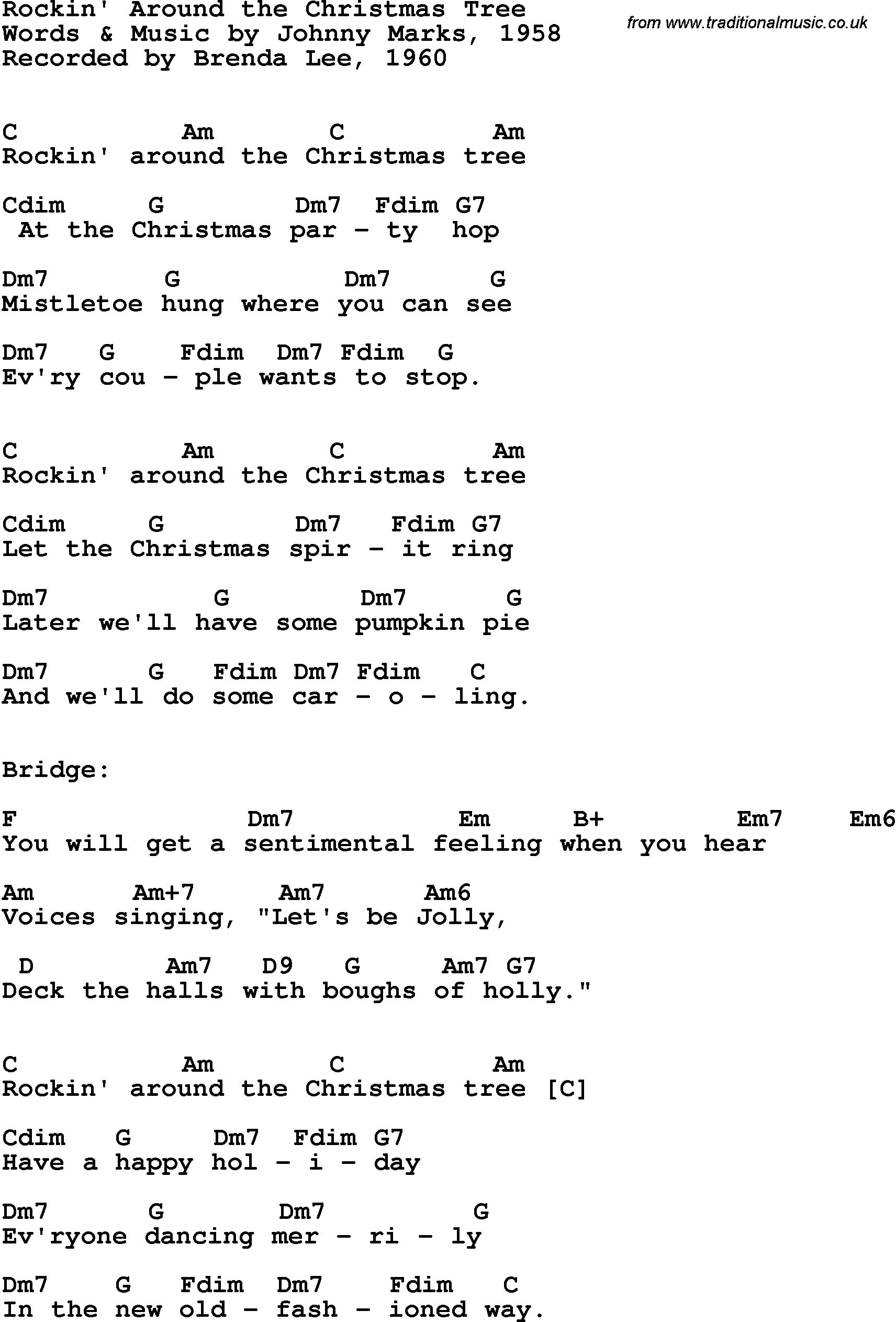 Song lyrics with guitar chords for Rockin\' Around The Christmas Tree ...