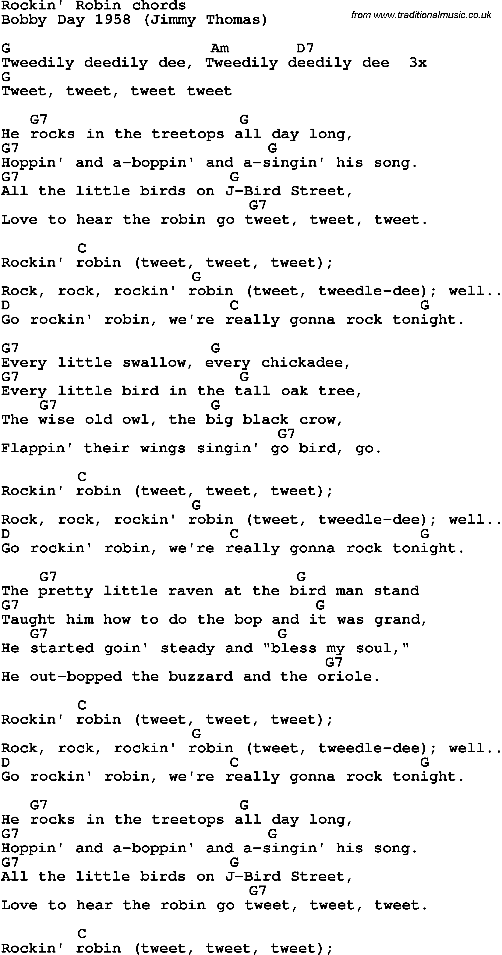 Song Lyrics With Guitar Chords For Rockin Robin