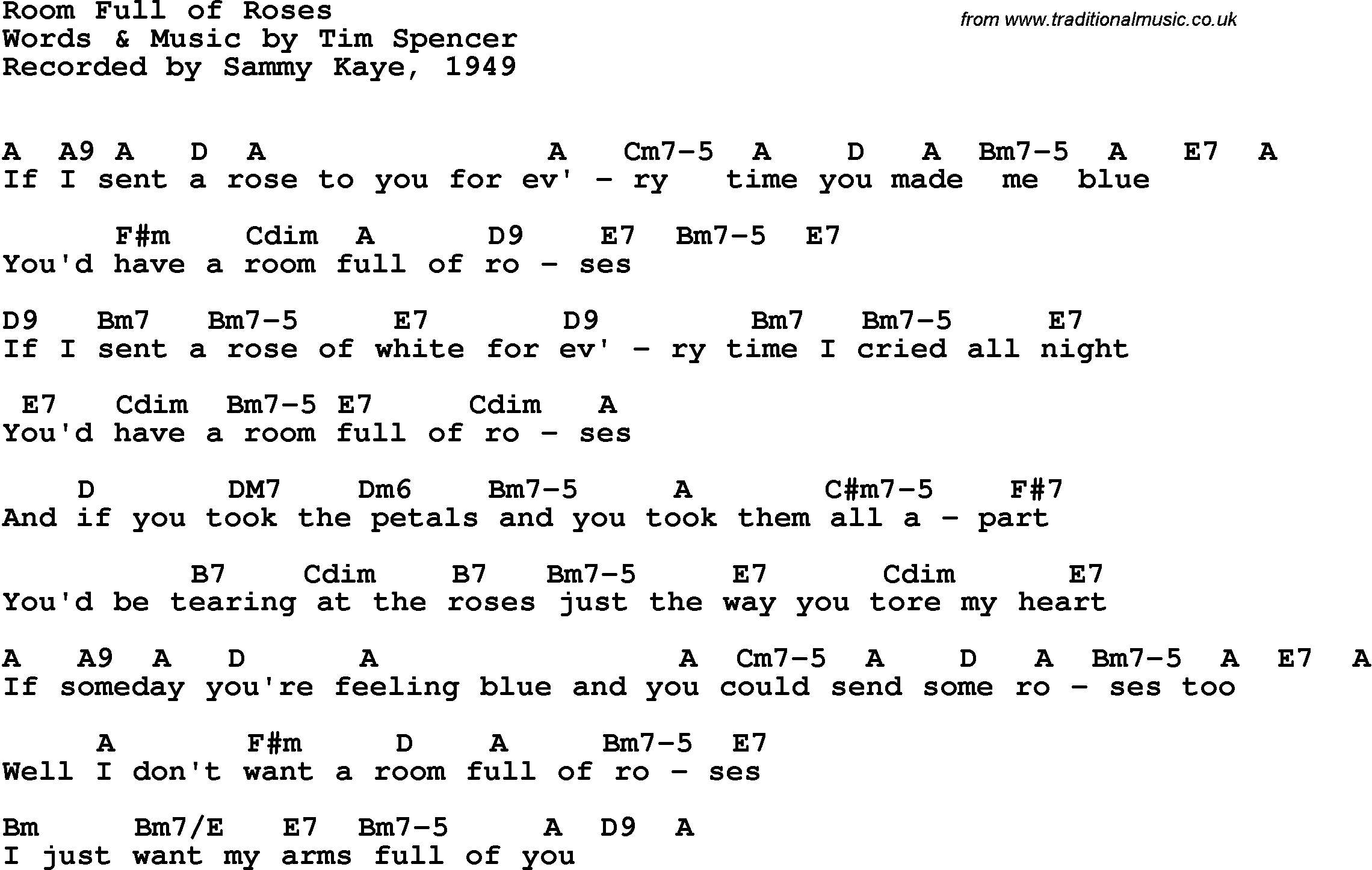 Room Full Of Roses Chords, Guitar Tab, and Lyrics by ...