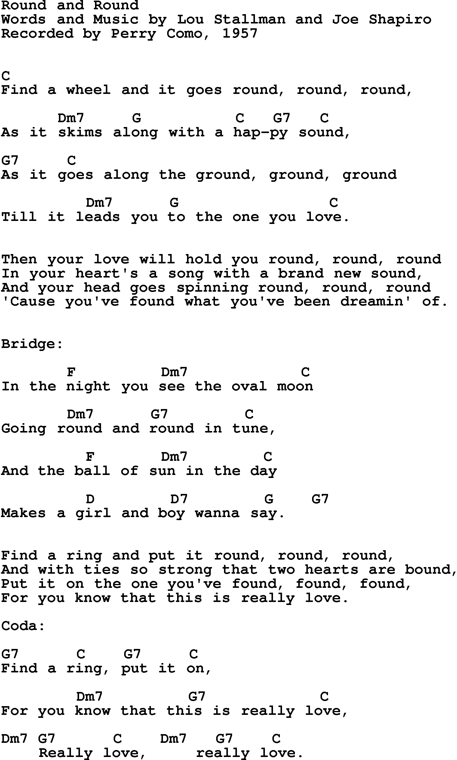 Song lyrics with guitar chords for Round And Round - Perry