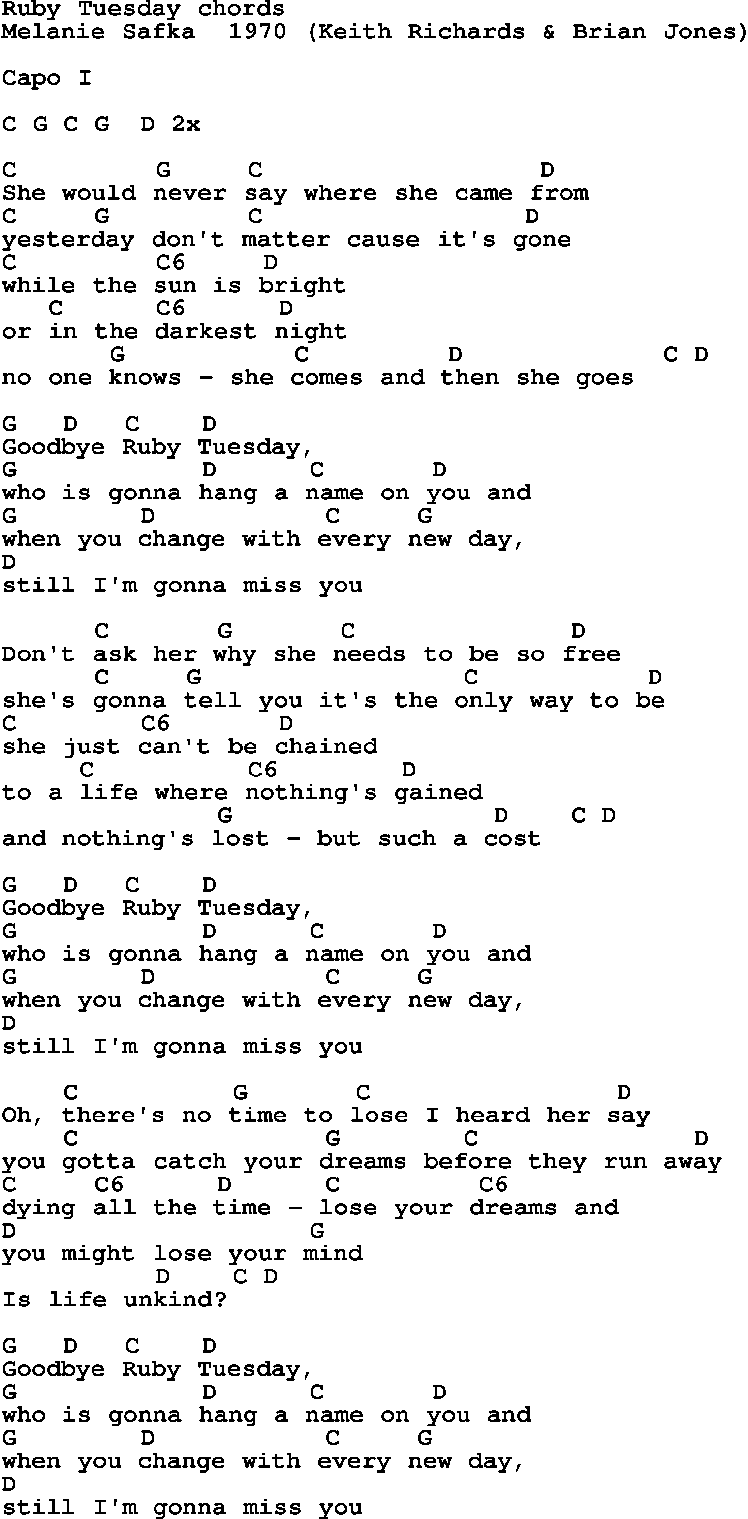 Song Lyrics With Guitar Chords For Ruby Tuesday The Beatles