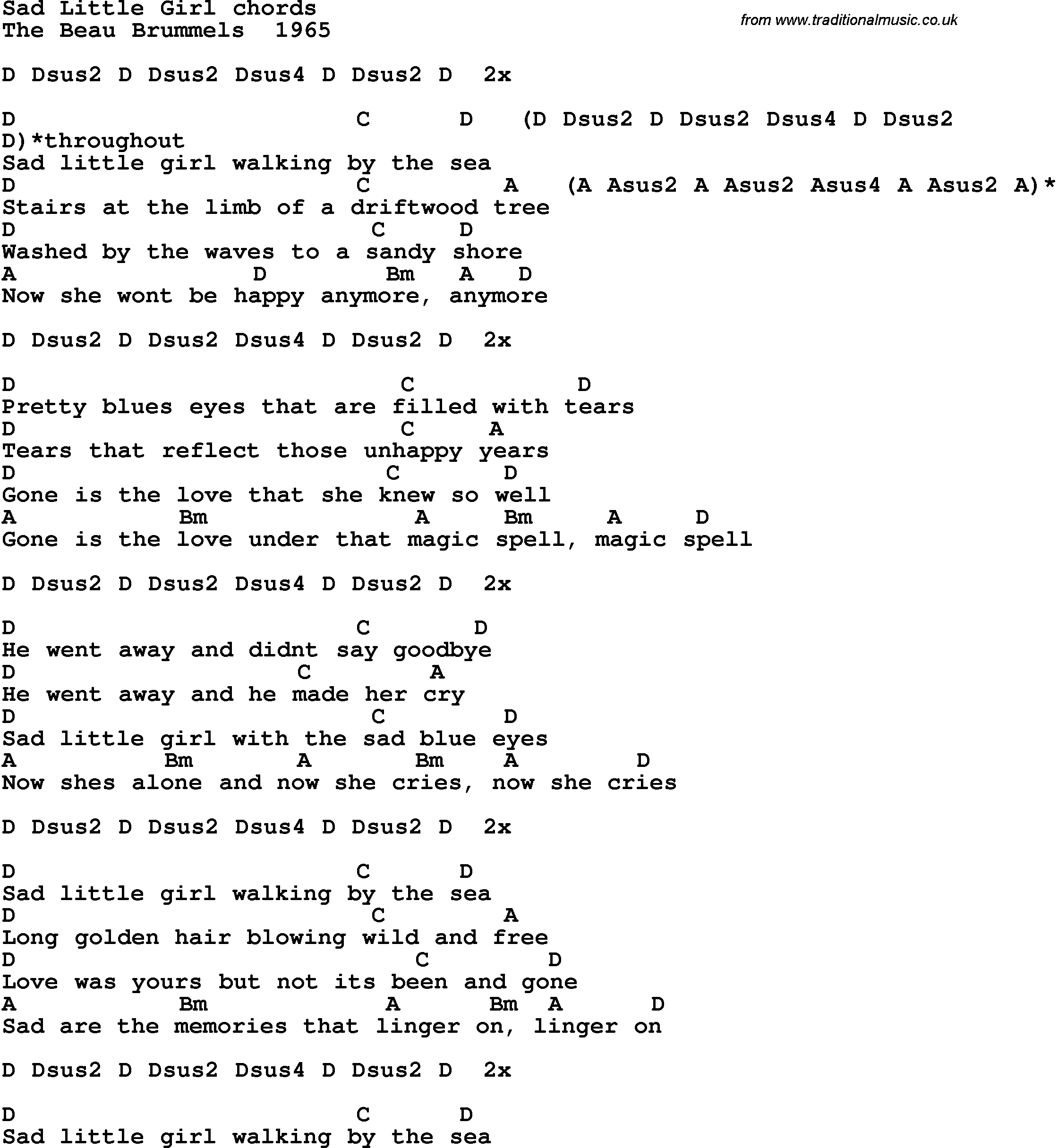 Song lyrics with guitar chords for Sad Little Girl Sad Lyrics