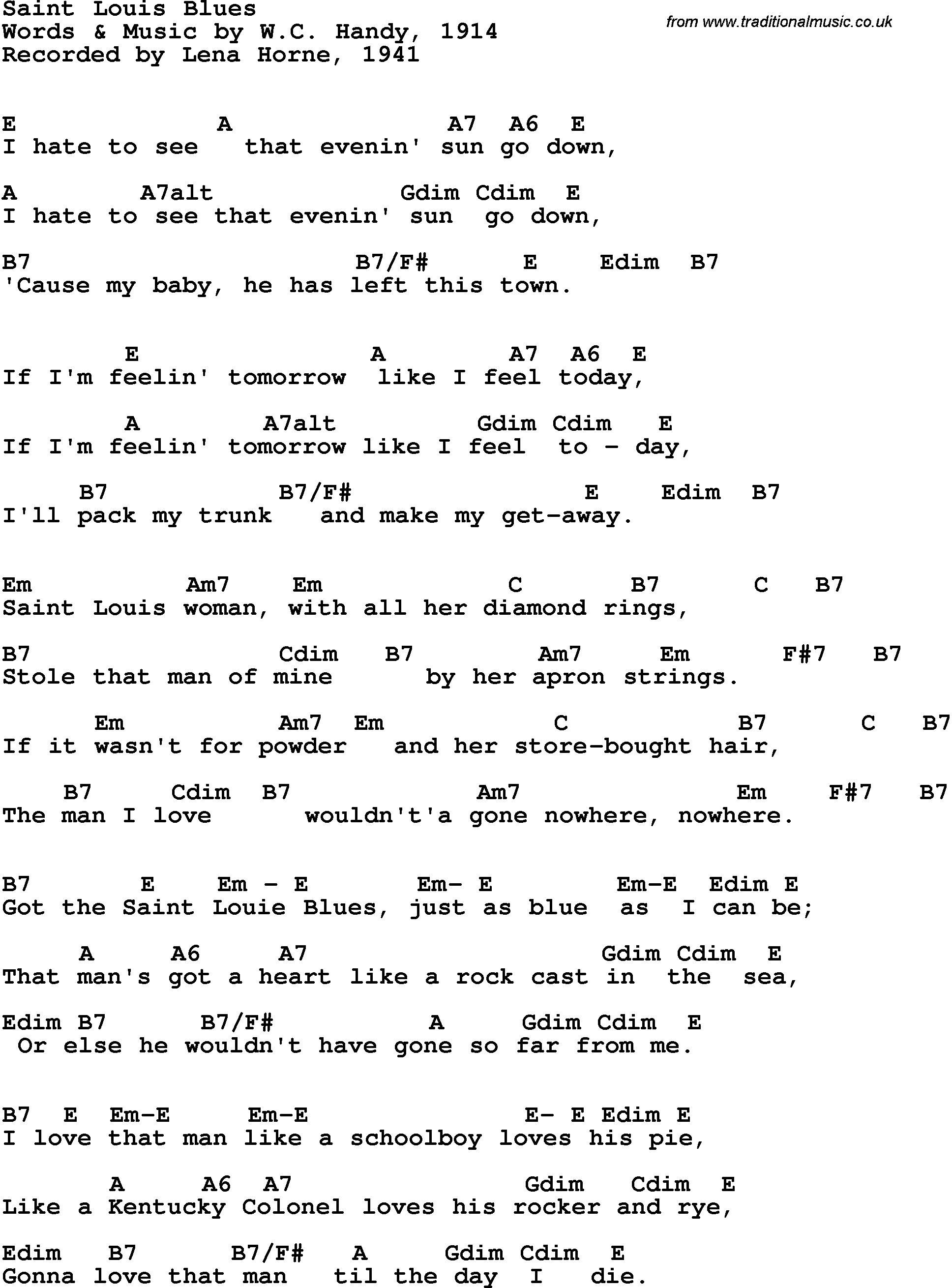 Song Lyrics With Guitar Chords For Saint Louis Blues Lena Horne 1941