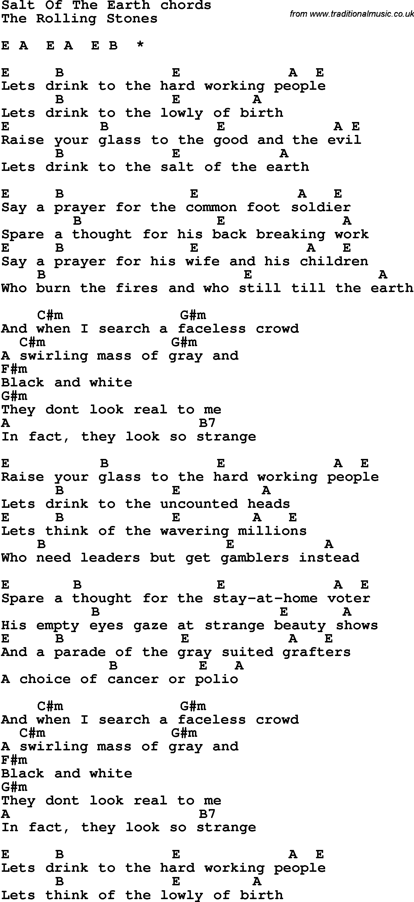 Song lyrics with guitar chords for salt of the earth song lyrics with guitar chords for salt of the earth hexwebz Choice Image
