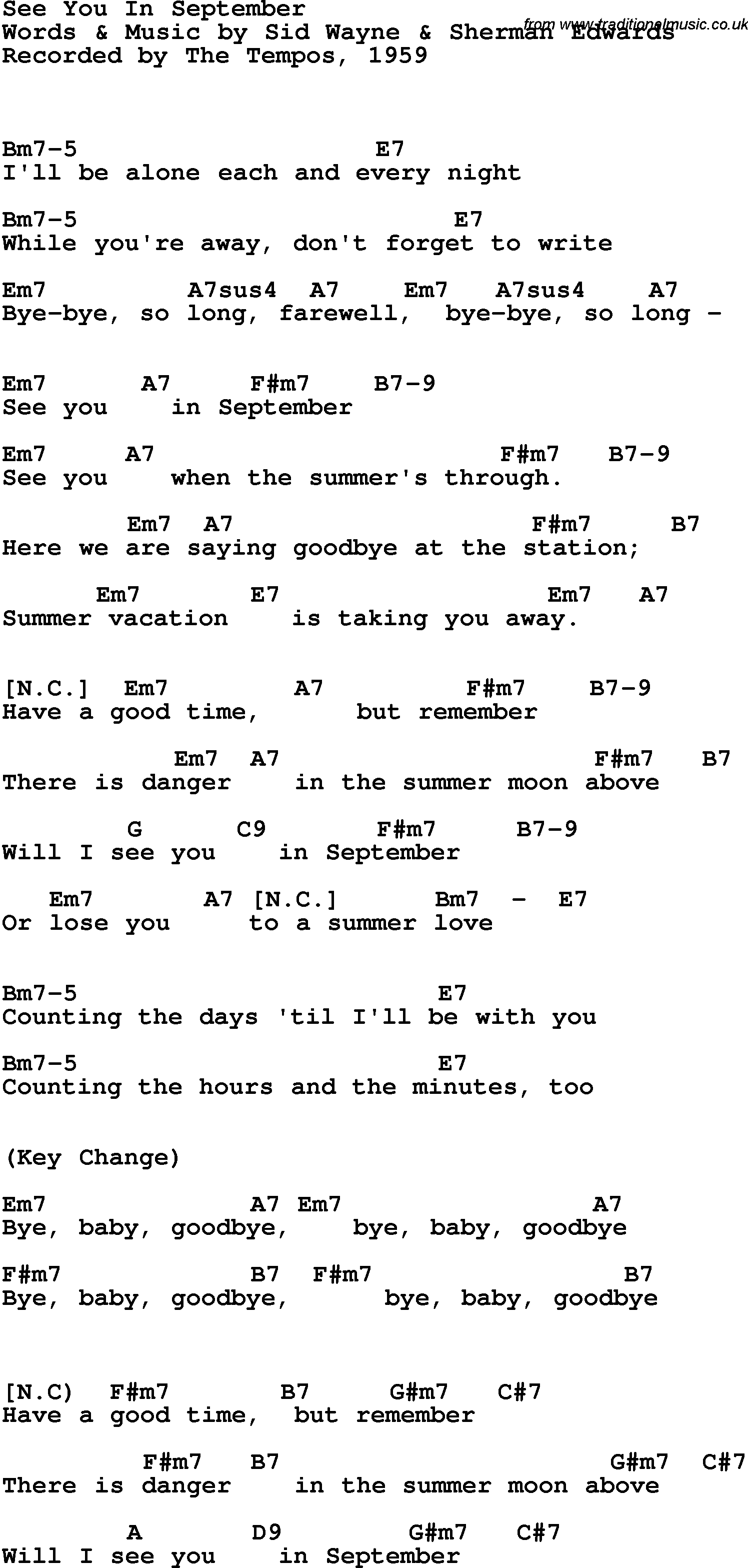 Song Lyrics With Guitar Chords For See You In September The Tempos