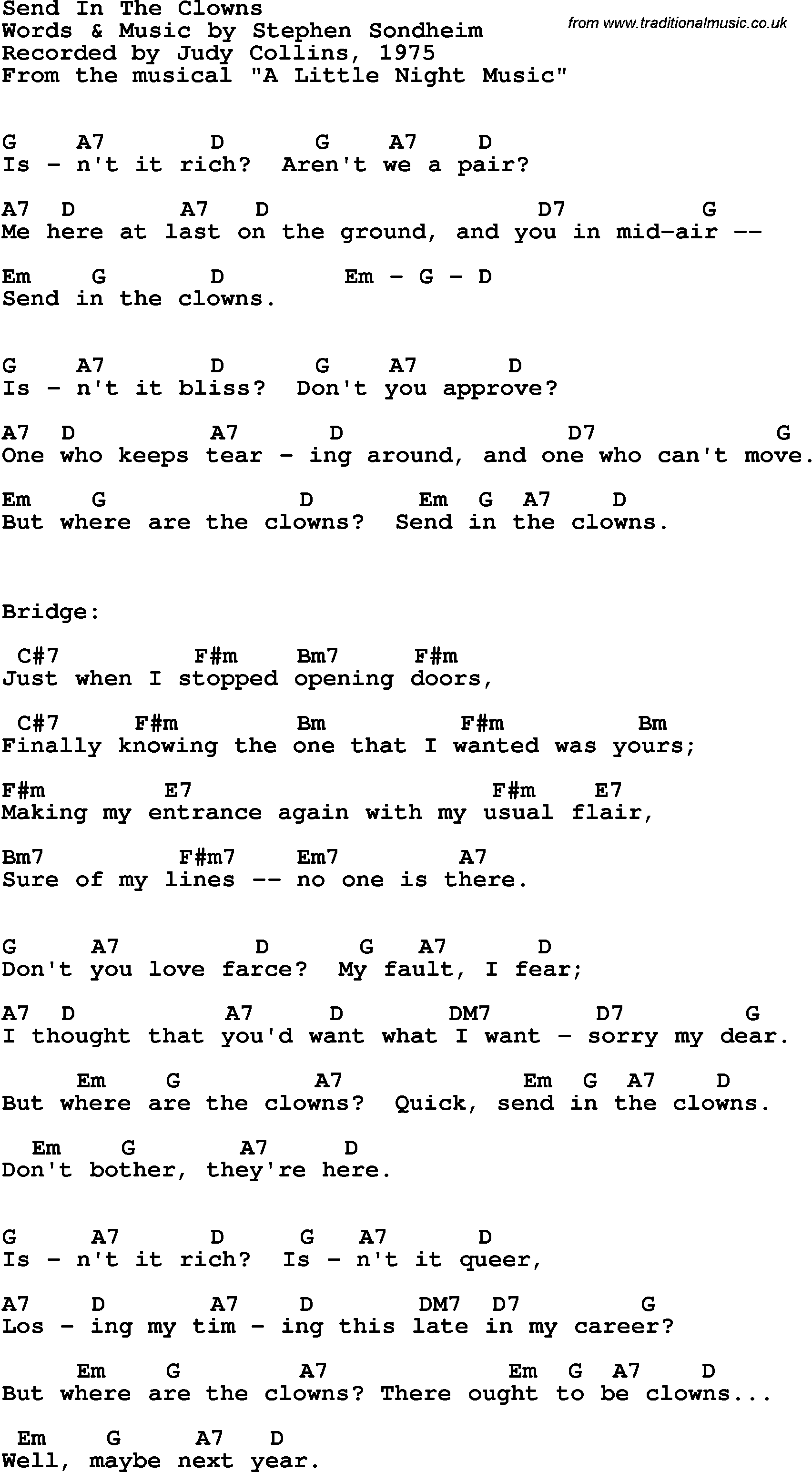 Song Lyrics With Guitar Chords For Send In The Clowns